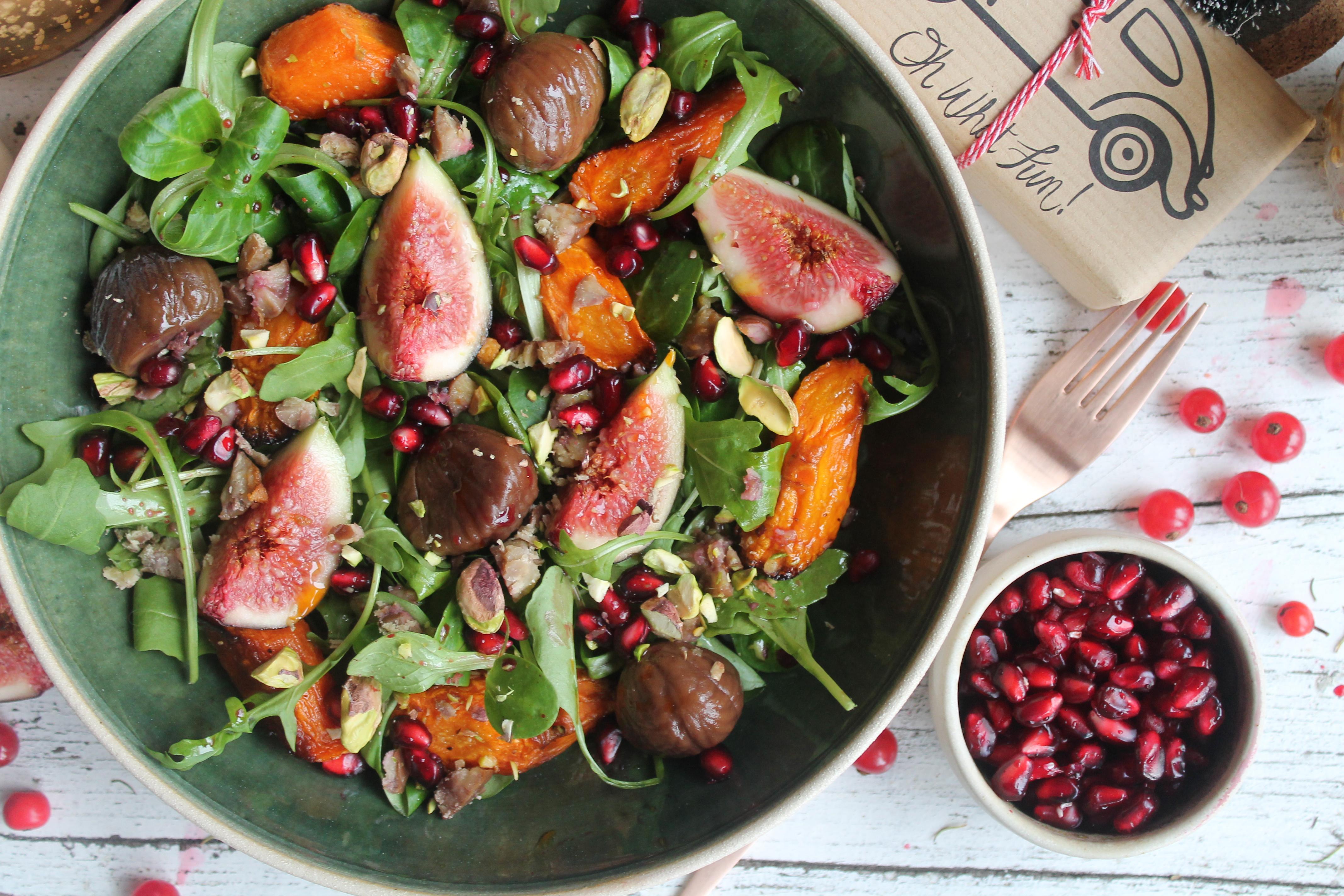 Warm Carrots, Chestnut & Figs Festive Salad