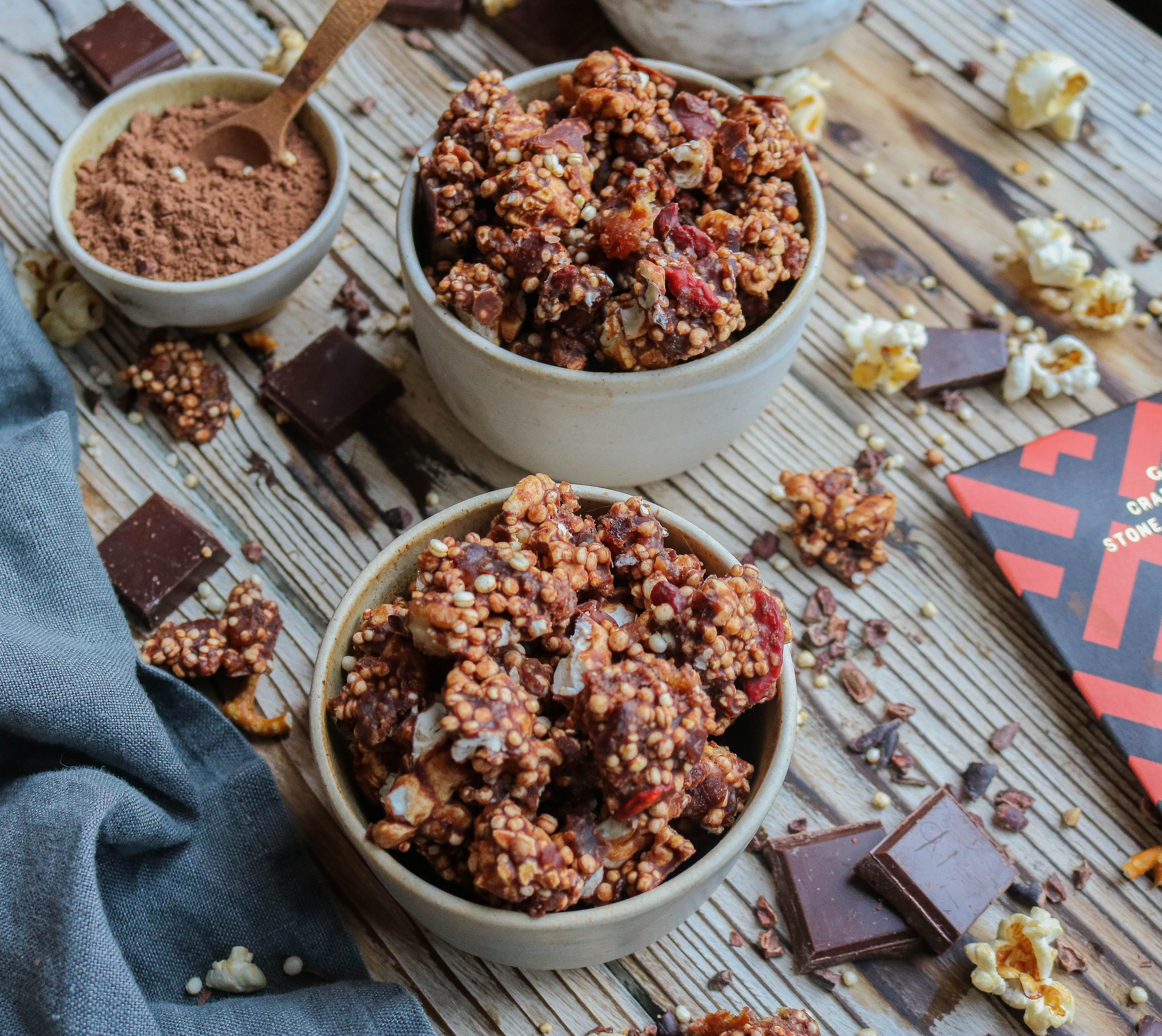 Popcorn & Quinoa Chocolate Clusters