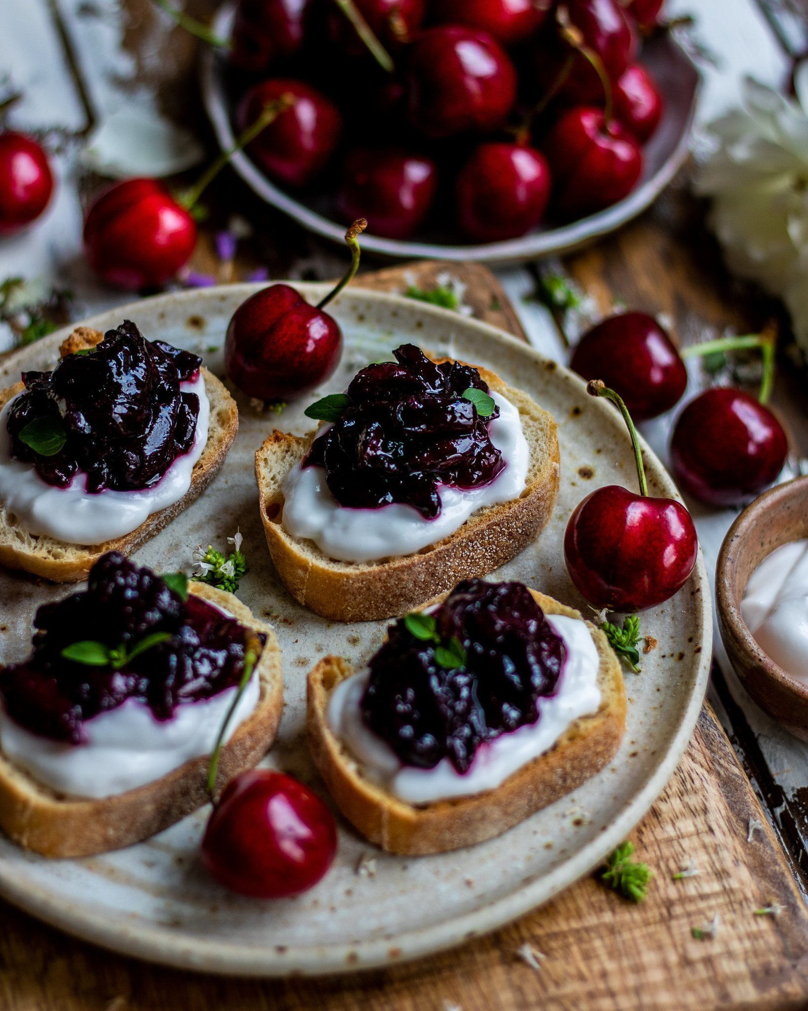Cherry & Coconut Bruschetta