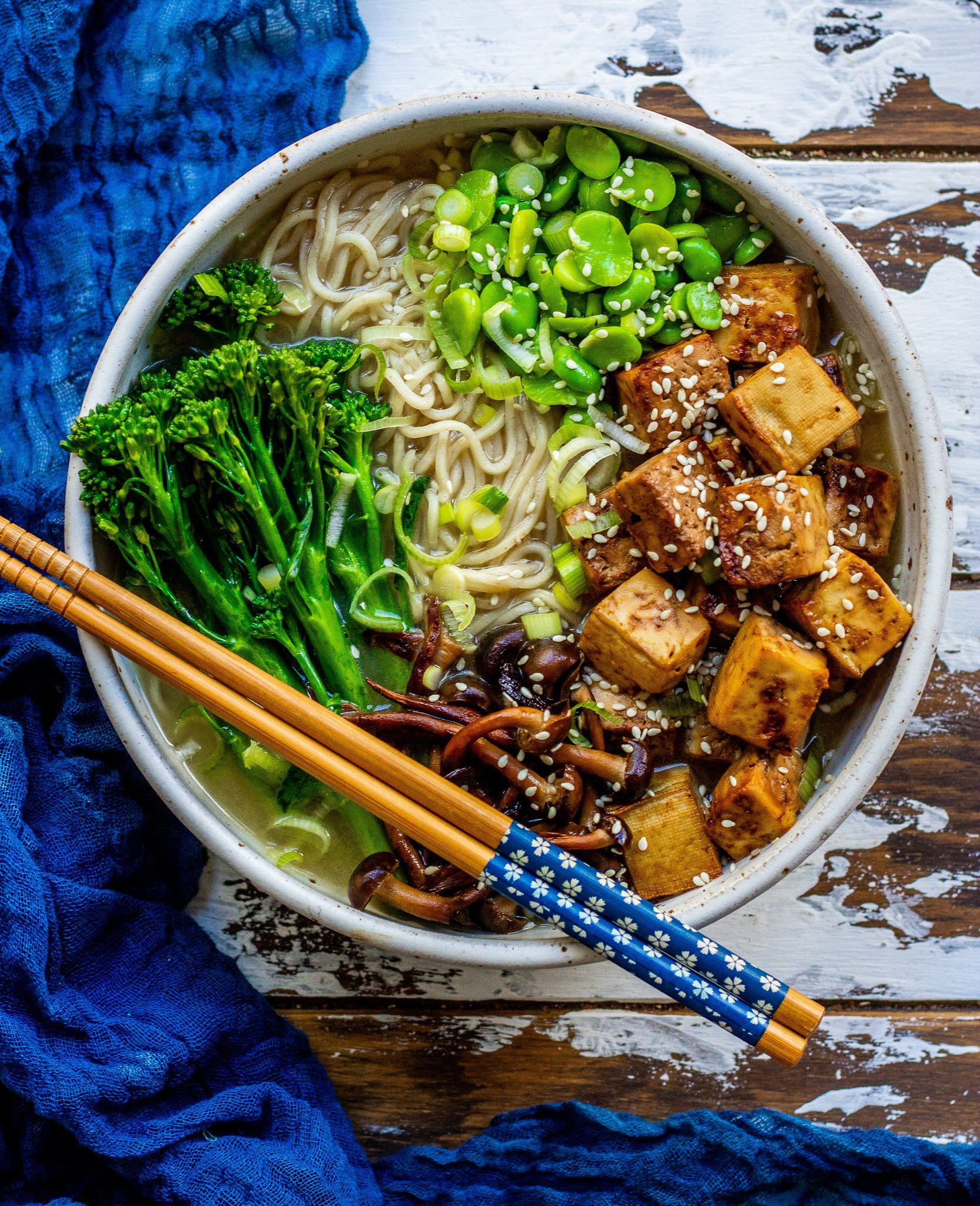 Miso Noodle Soup with Crispy Tofu