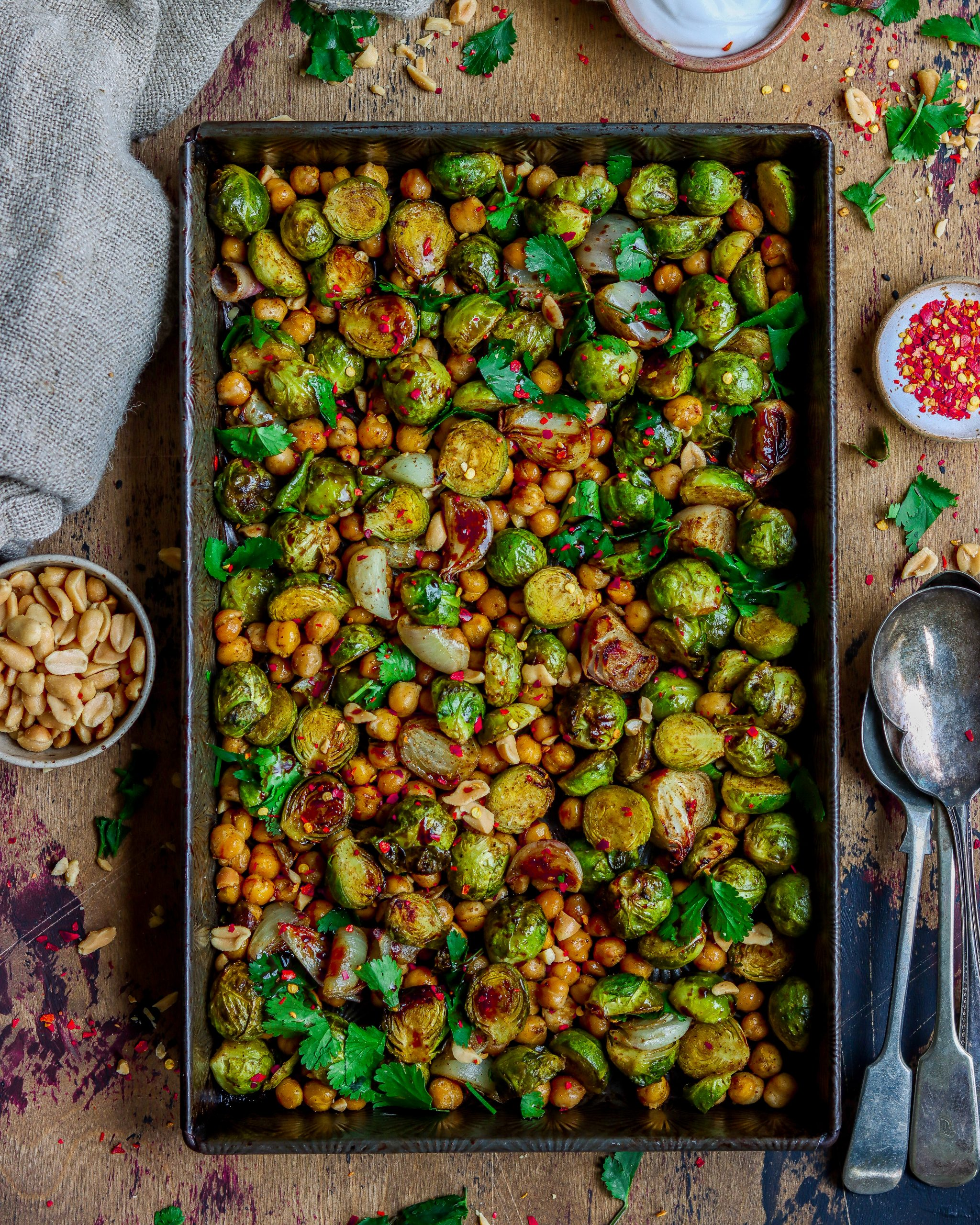 Tamarind Brussel Sprouts & Chickpea Tray Bake