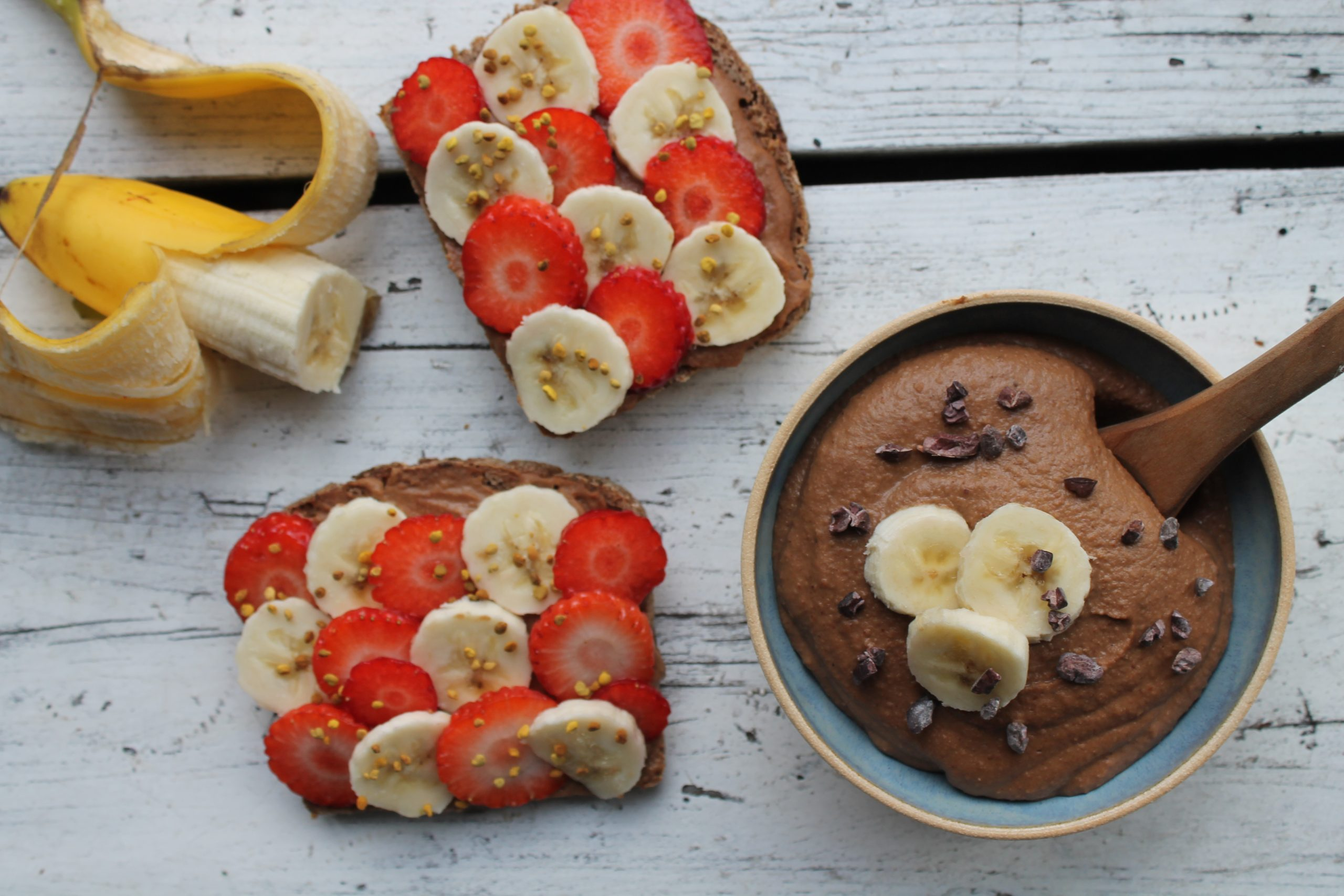 Almond butter, cacao and banana hummus