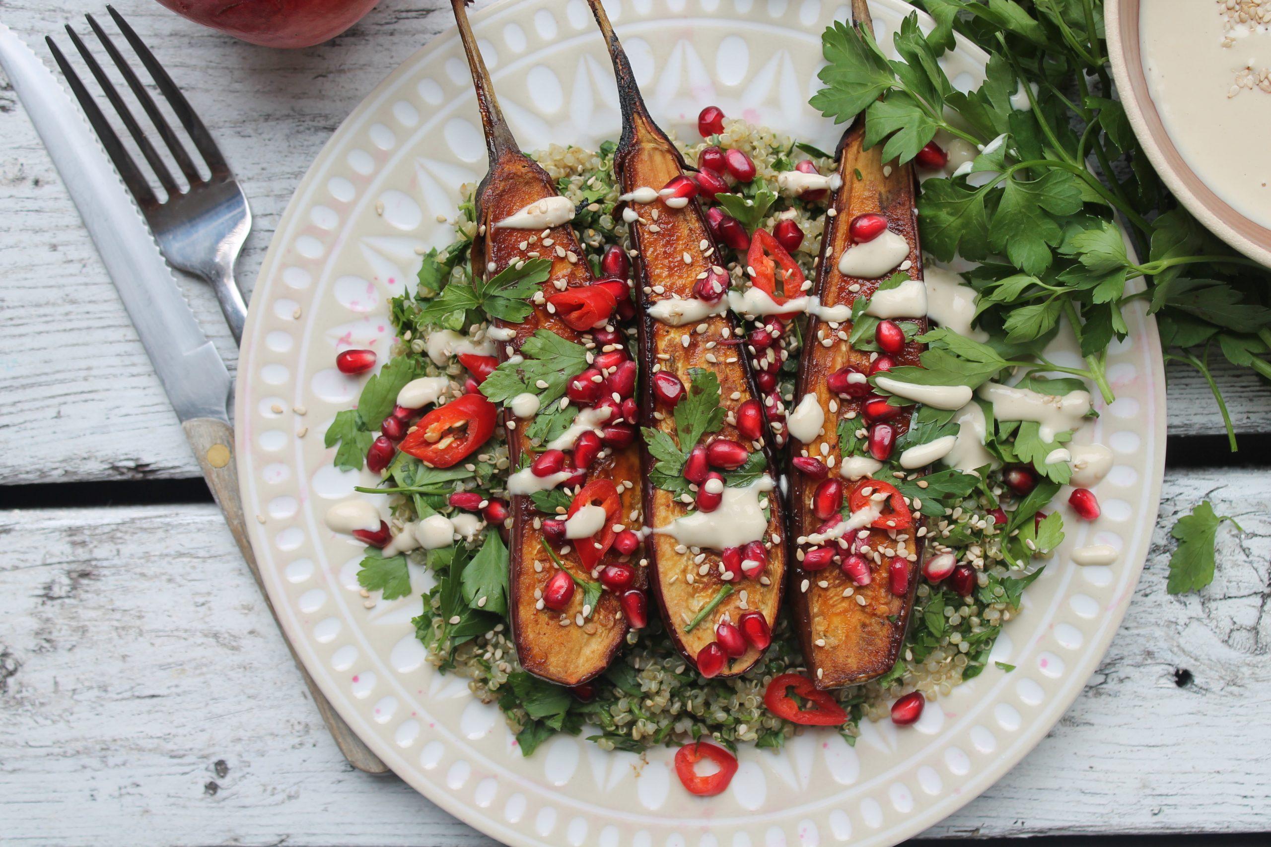 Miso glazed aubergines with quinoa tabbouleh