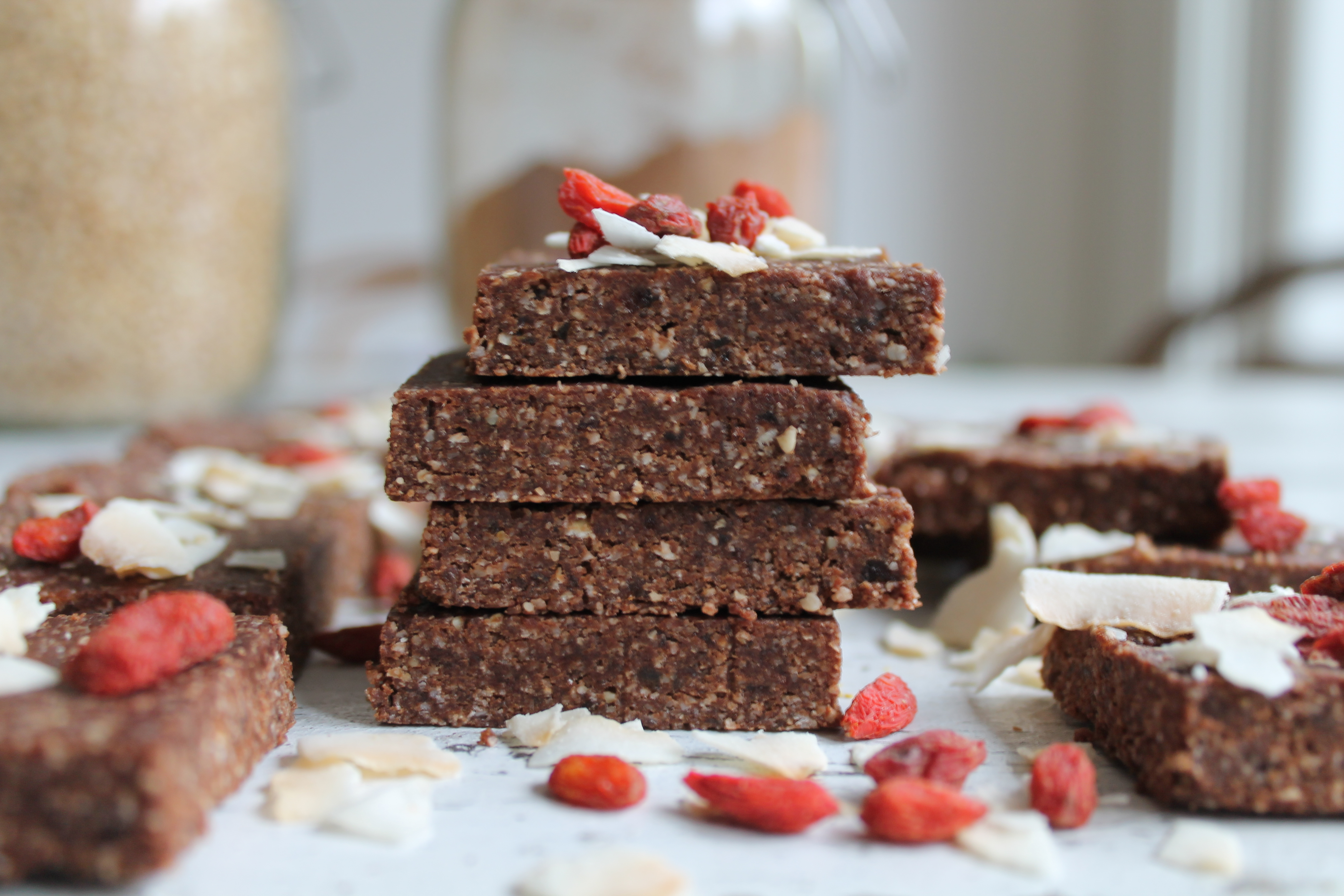 Raw Cacao, Coconut and Goji Berries Slices