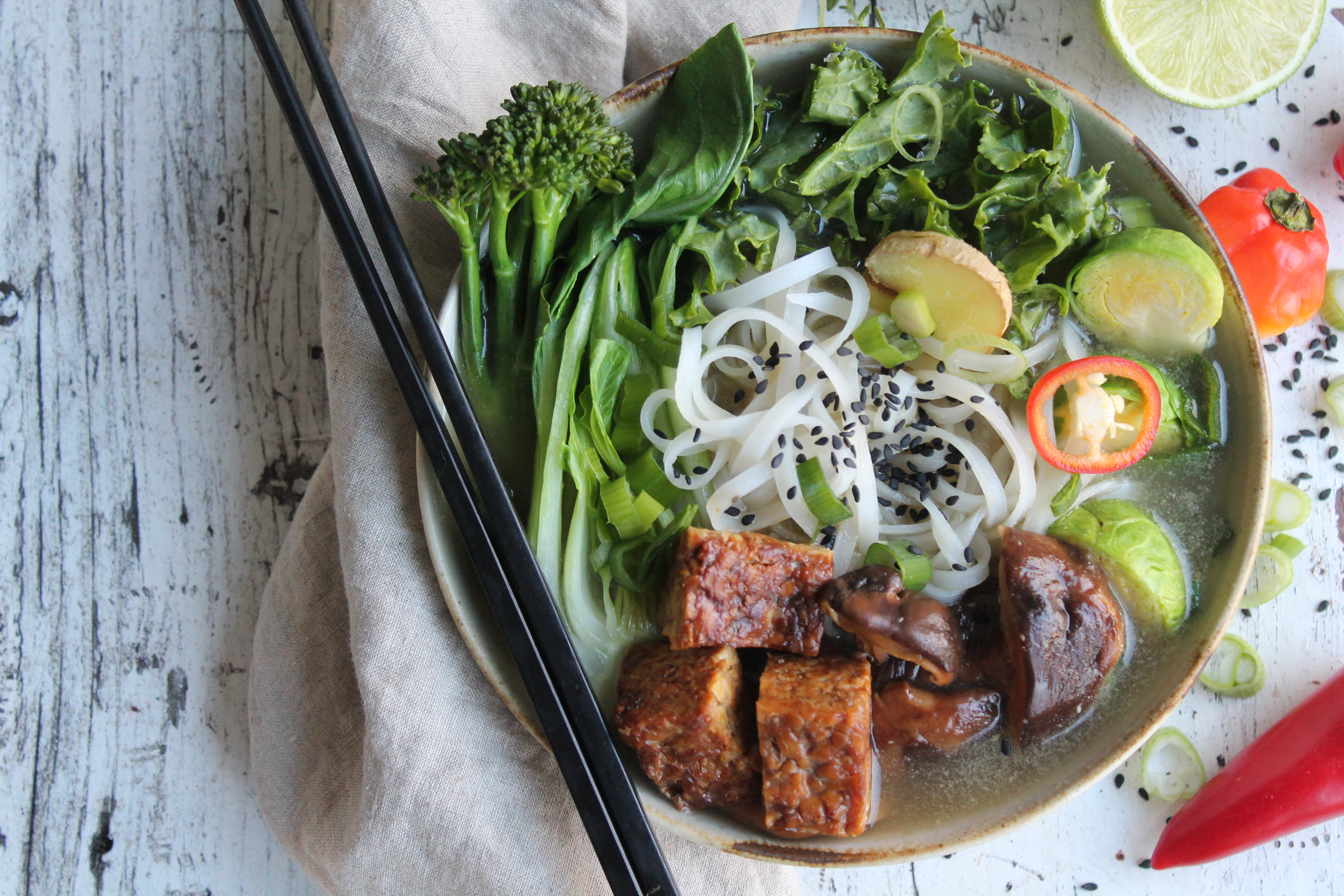 Fully Loaded Veggie PHO with glazed sticky tempeh