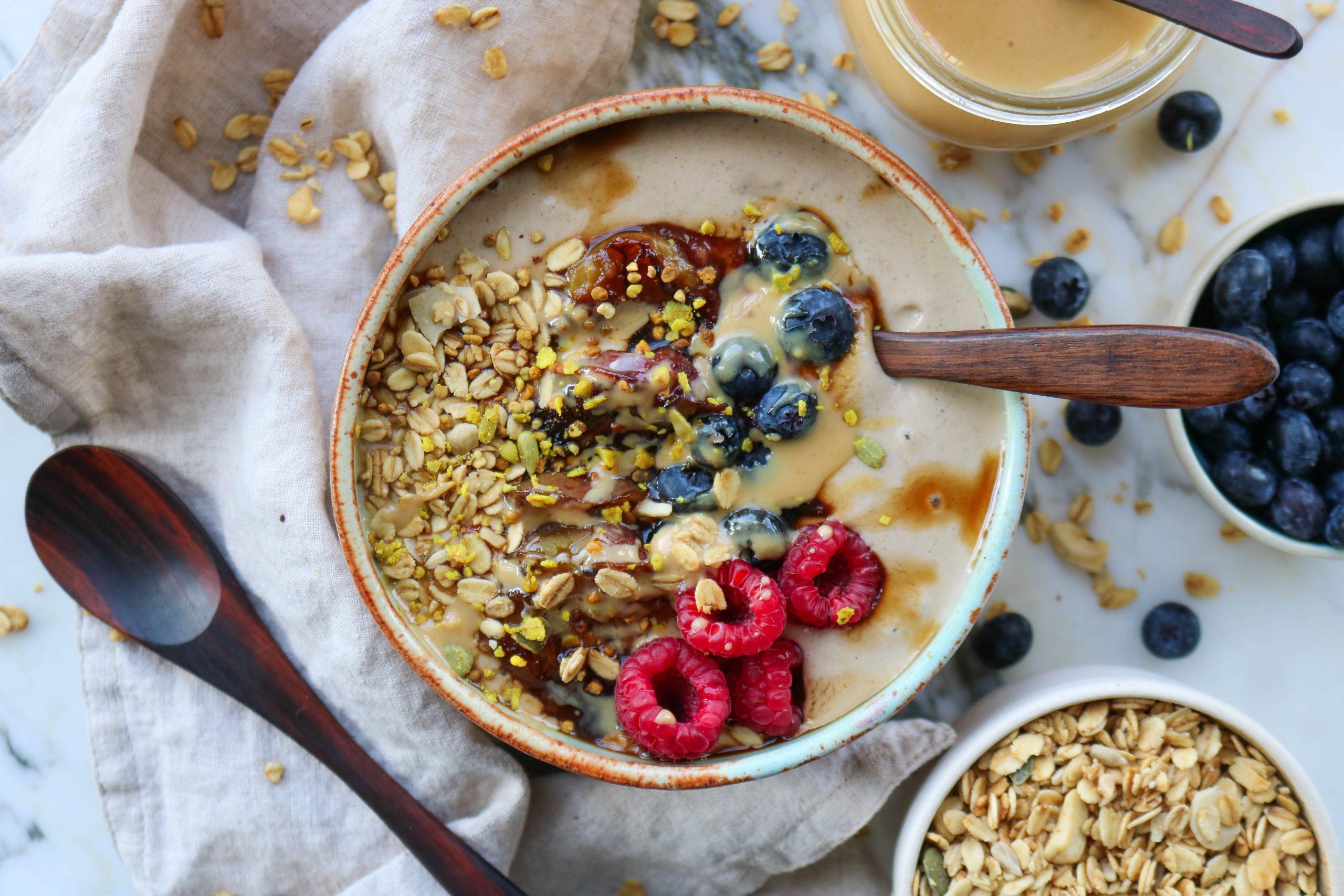 Peanut Butter & Vanilla Buckwheat porridge with Stewed Plums