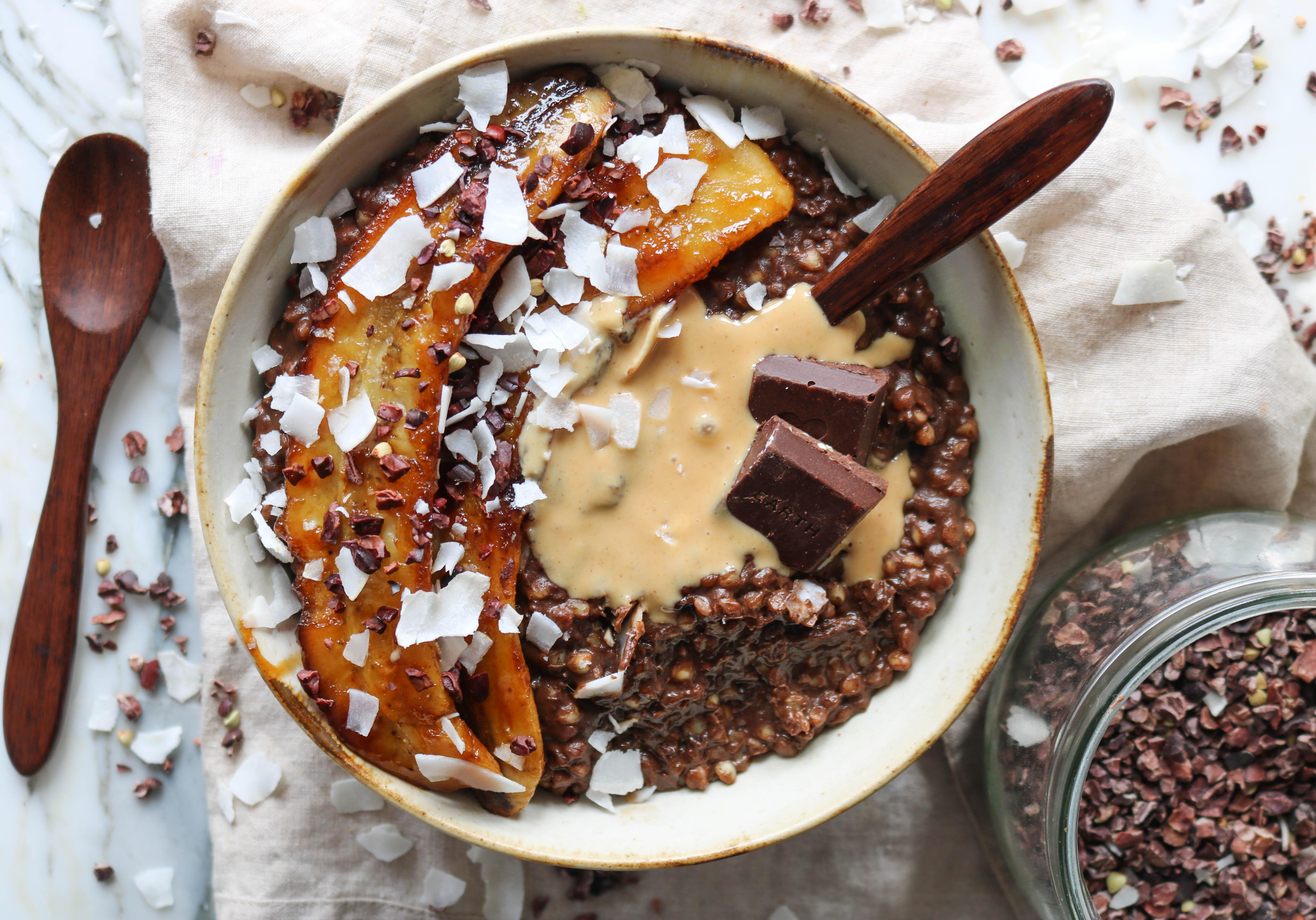 Chocolate Buckwheat Porridge with Caramelised Banana