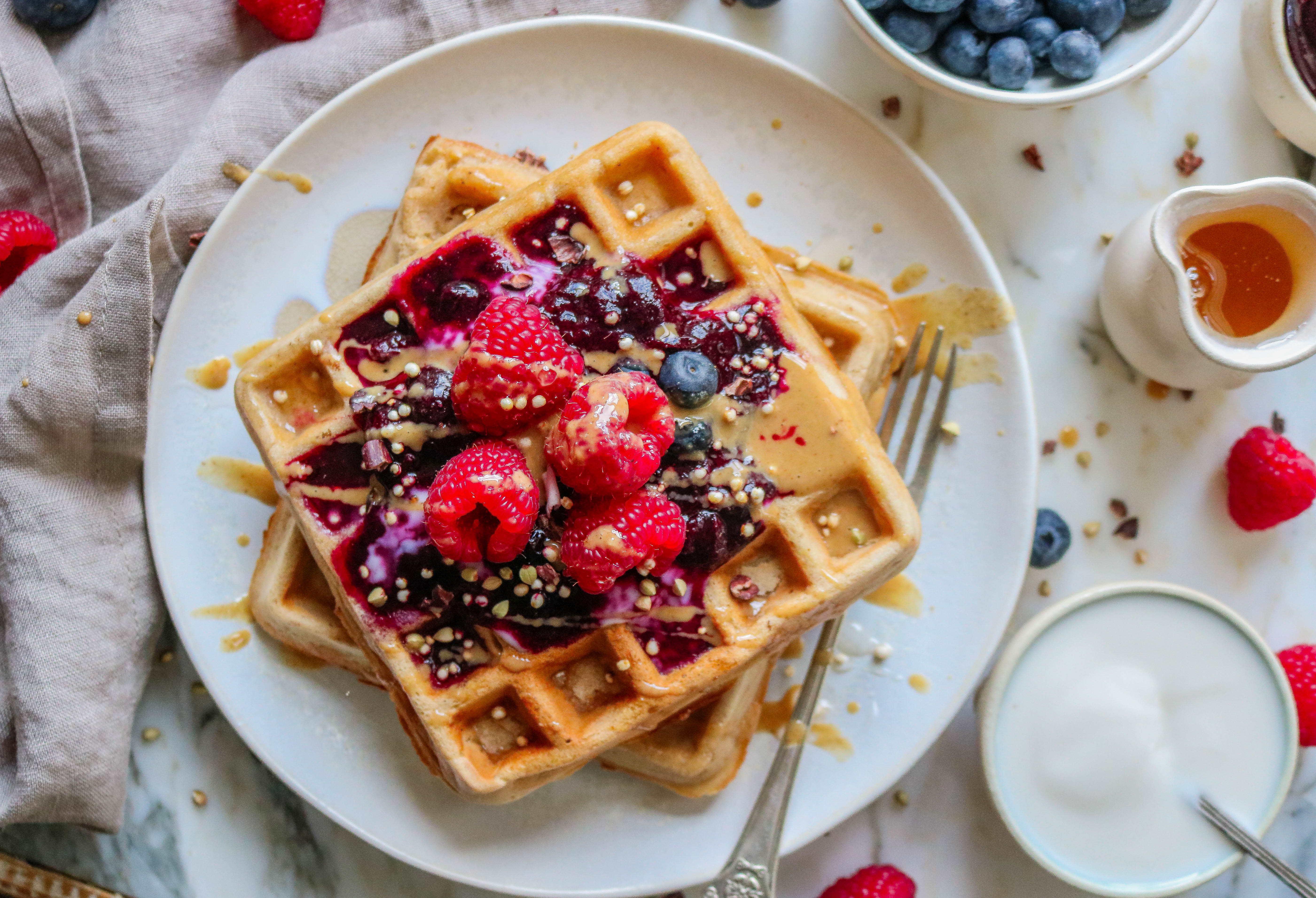 Vanilla Waffles with Blueberry Compote