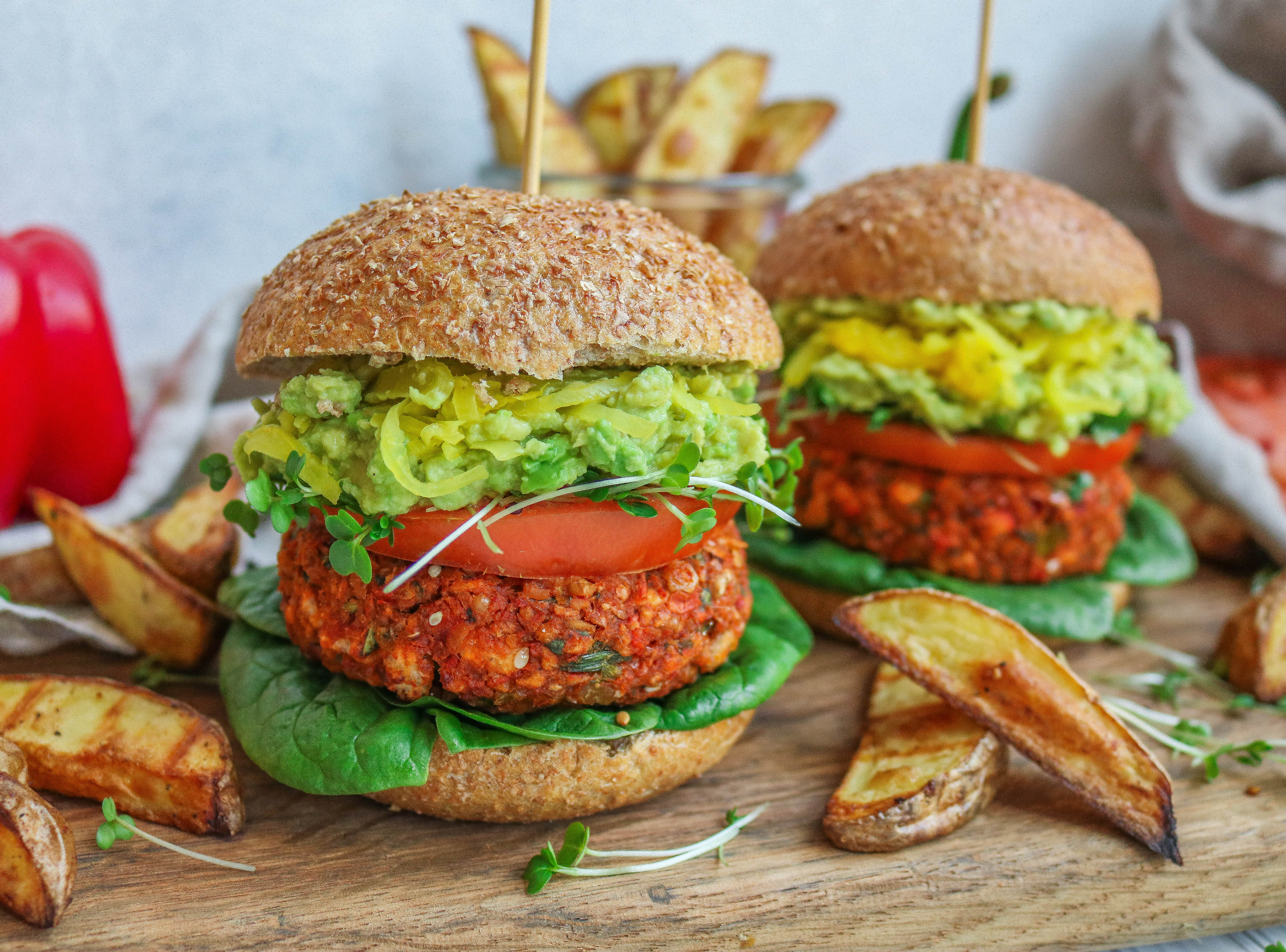 Roasted Red Pepper & Chickpea Burgers