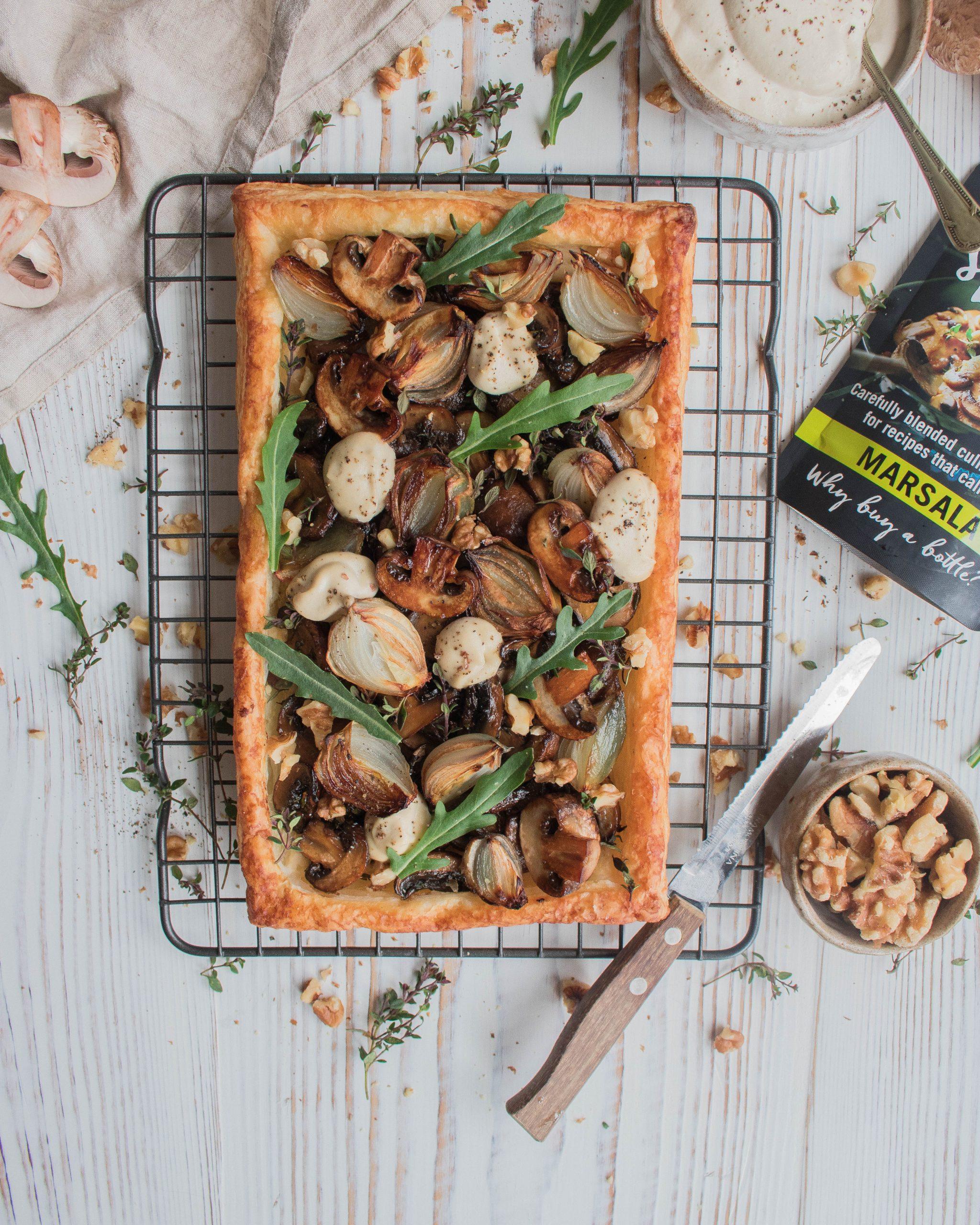 Marsala Glazed Mushroom & Shallot Tart with Cashew Cheese