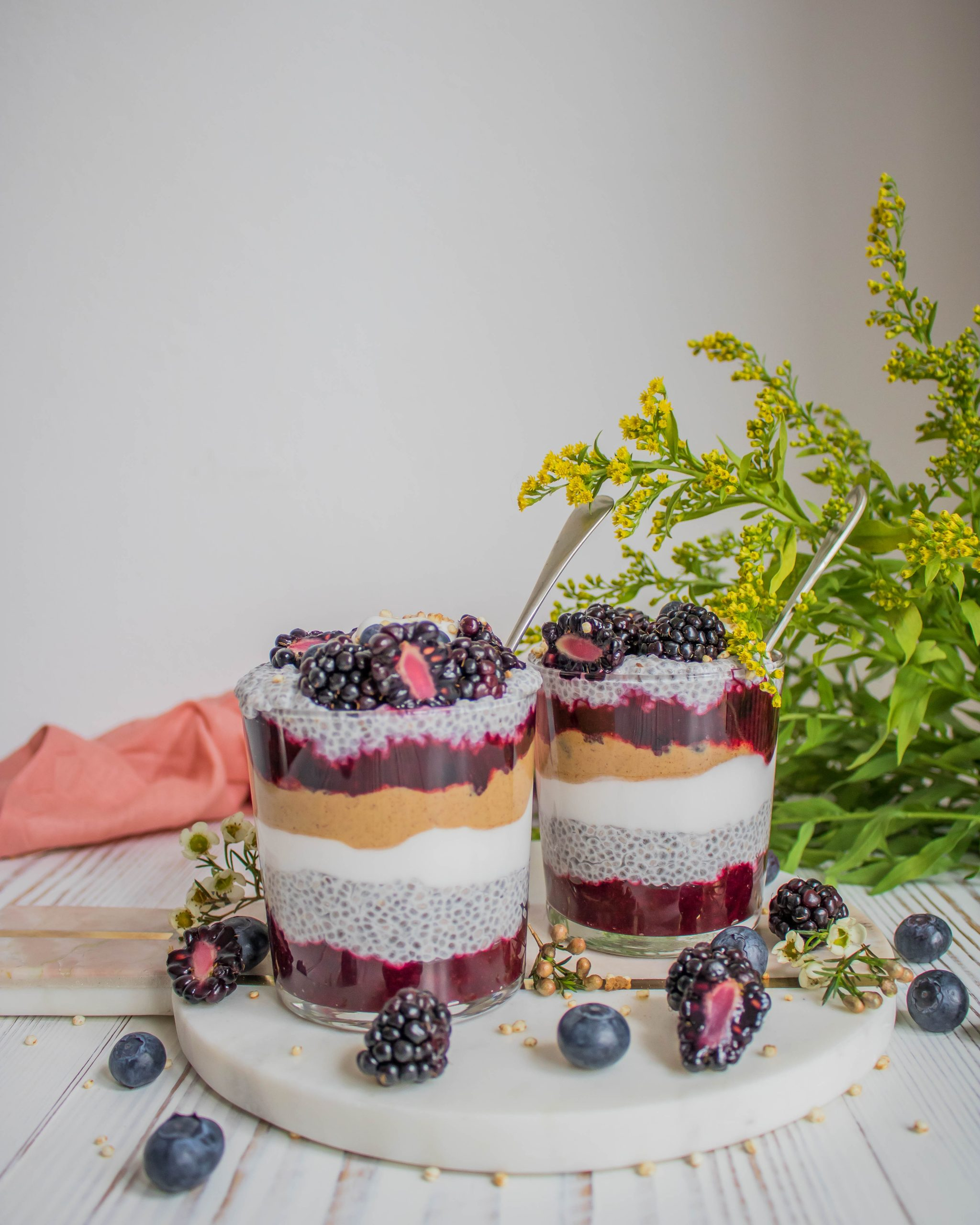Peanut Butter & Jelly Chia Pudding Parfaits
