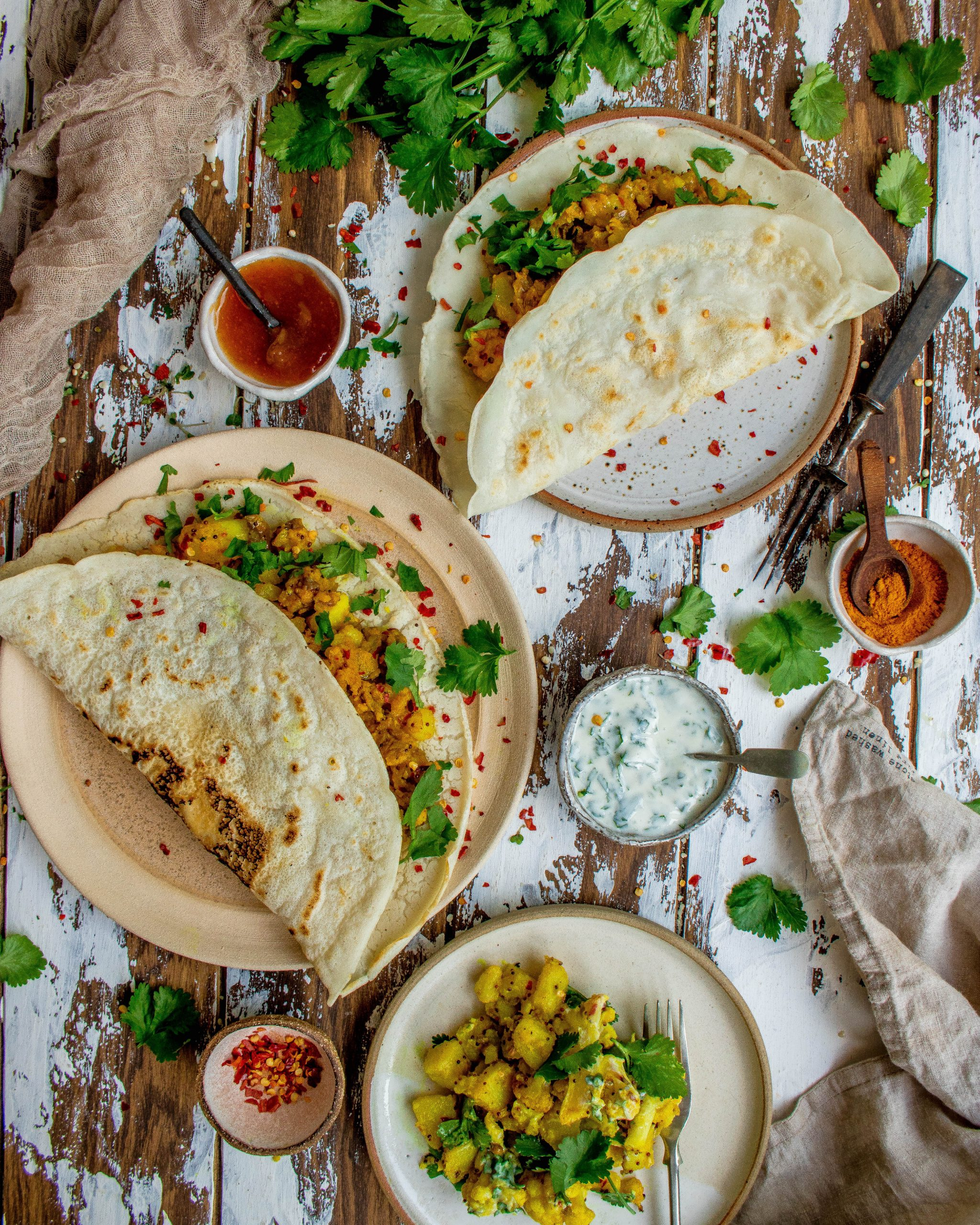 Dosa Wraps with Spiced Potatoes
