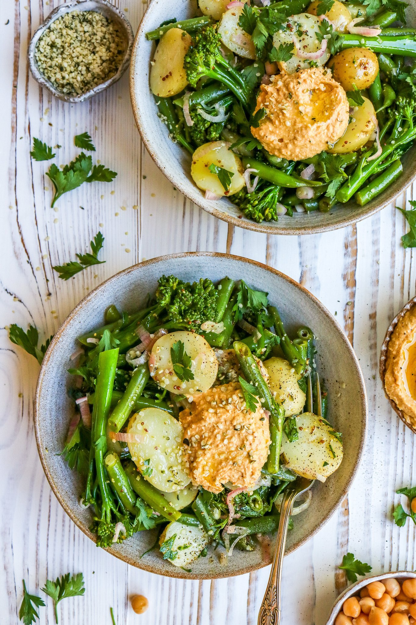 Summer Potato Salad with Sweet Pepper Hummus