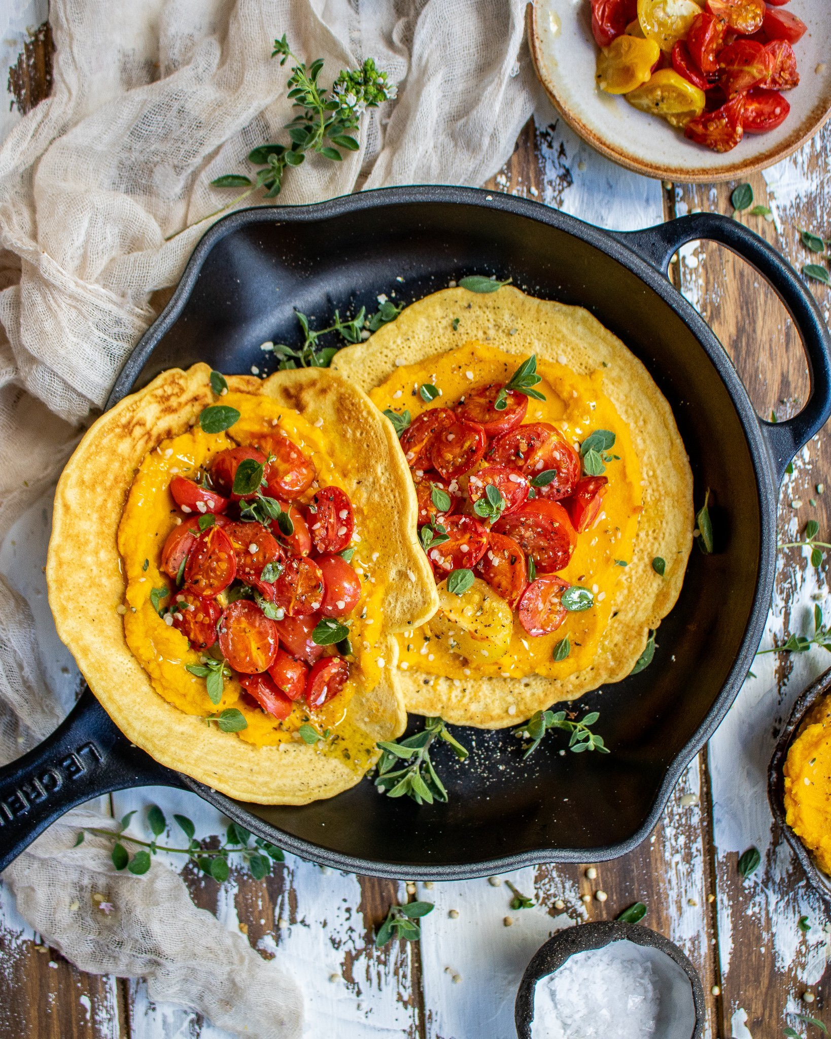 Chickpea Pancakes with Pumpkin Puree & Roasted Tomatoes