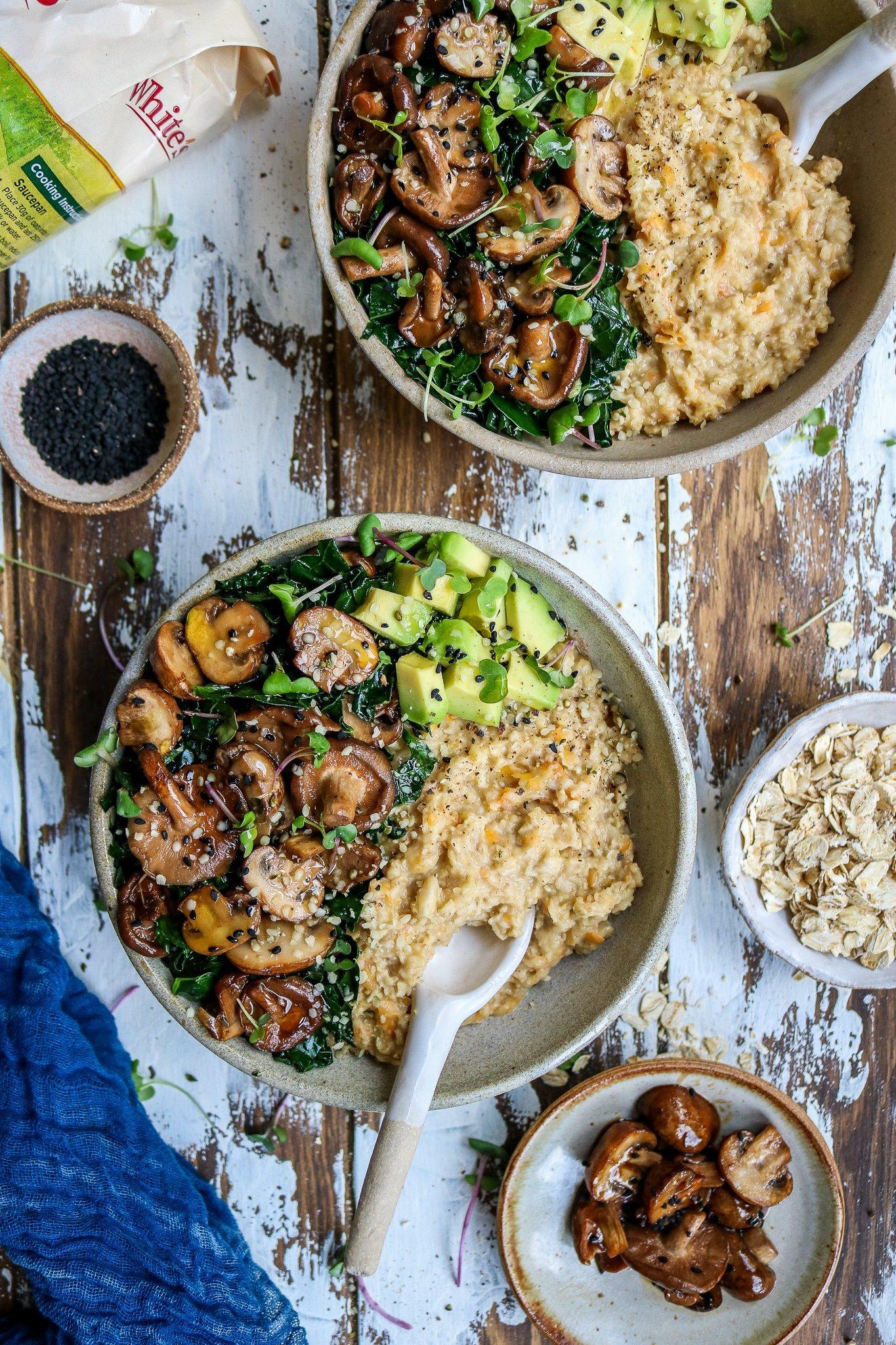 Nourishing Savoury Porridge Bowl with Miso Mushrooms & Kale