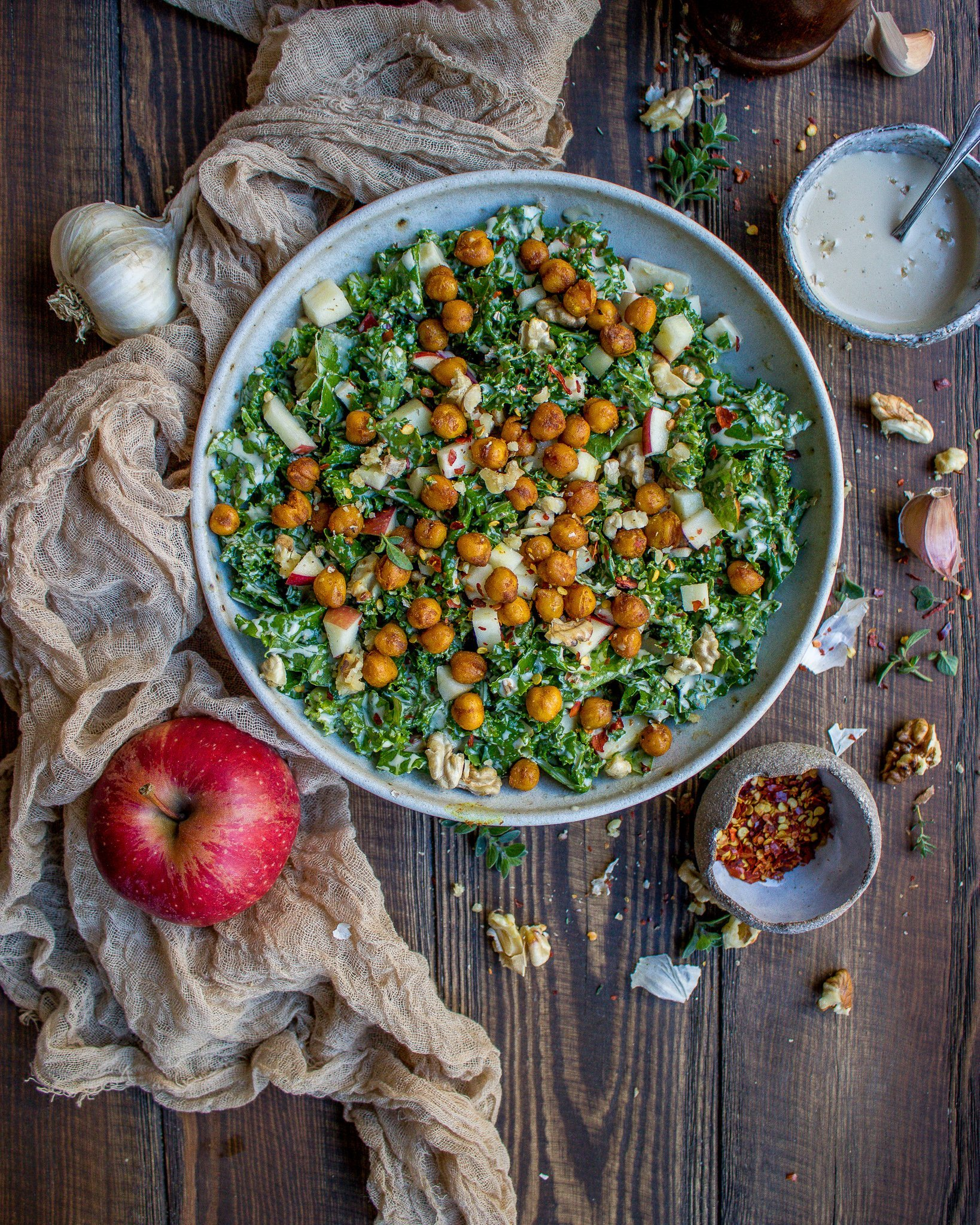 Kale Salad with a Roasted Garlic Tahini Dressing