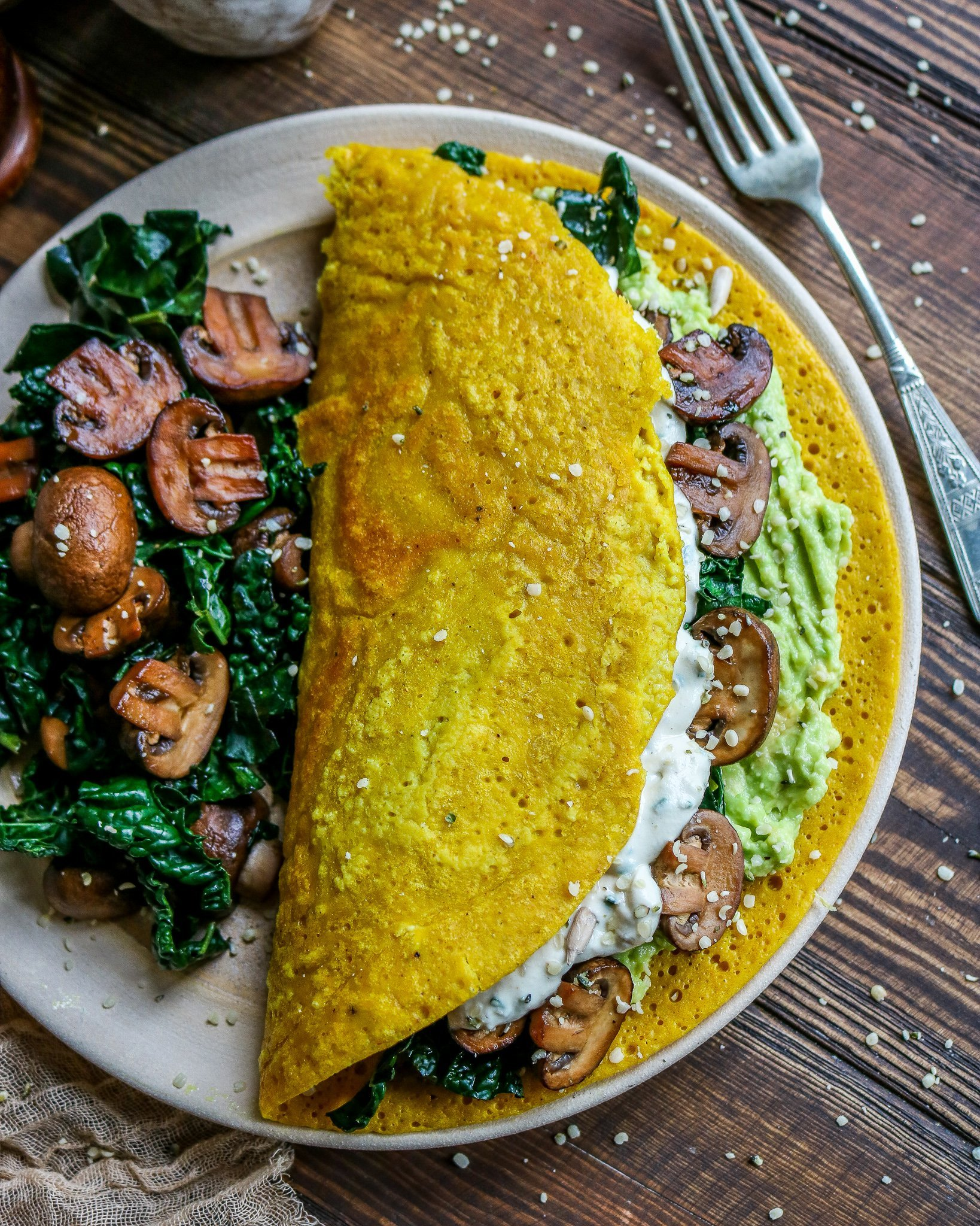 Vegan Omelette with Mushrooms & Kale