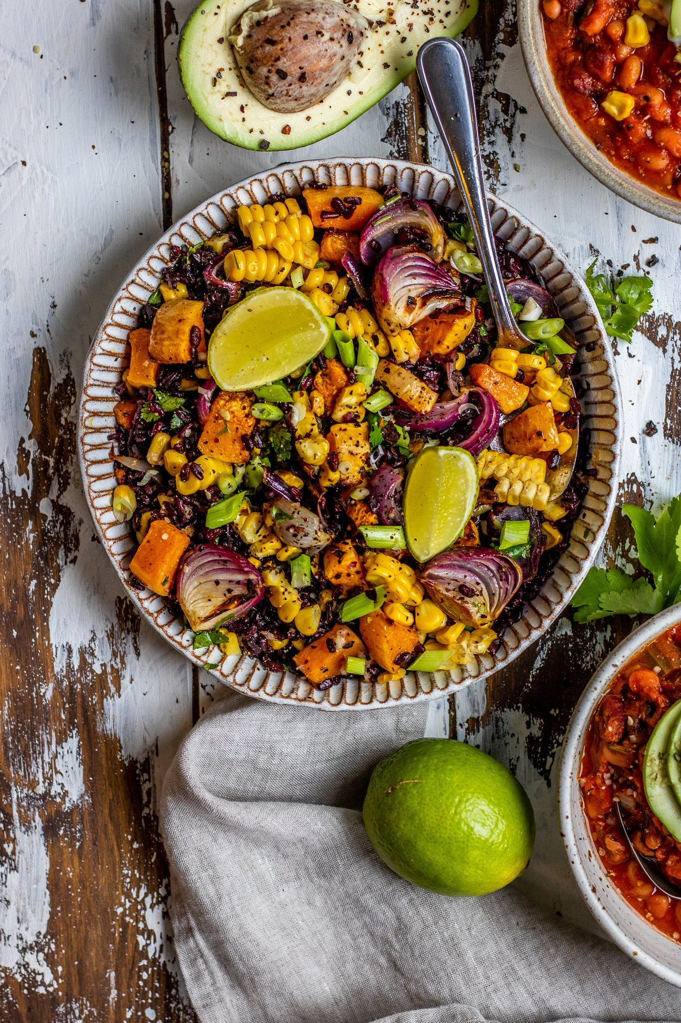 Mexican Inspired Black Rice, Squash and Corn Salad
