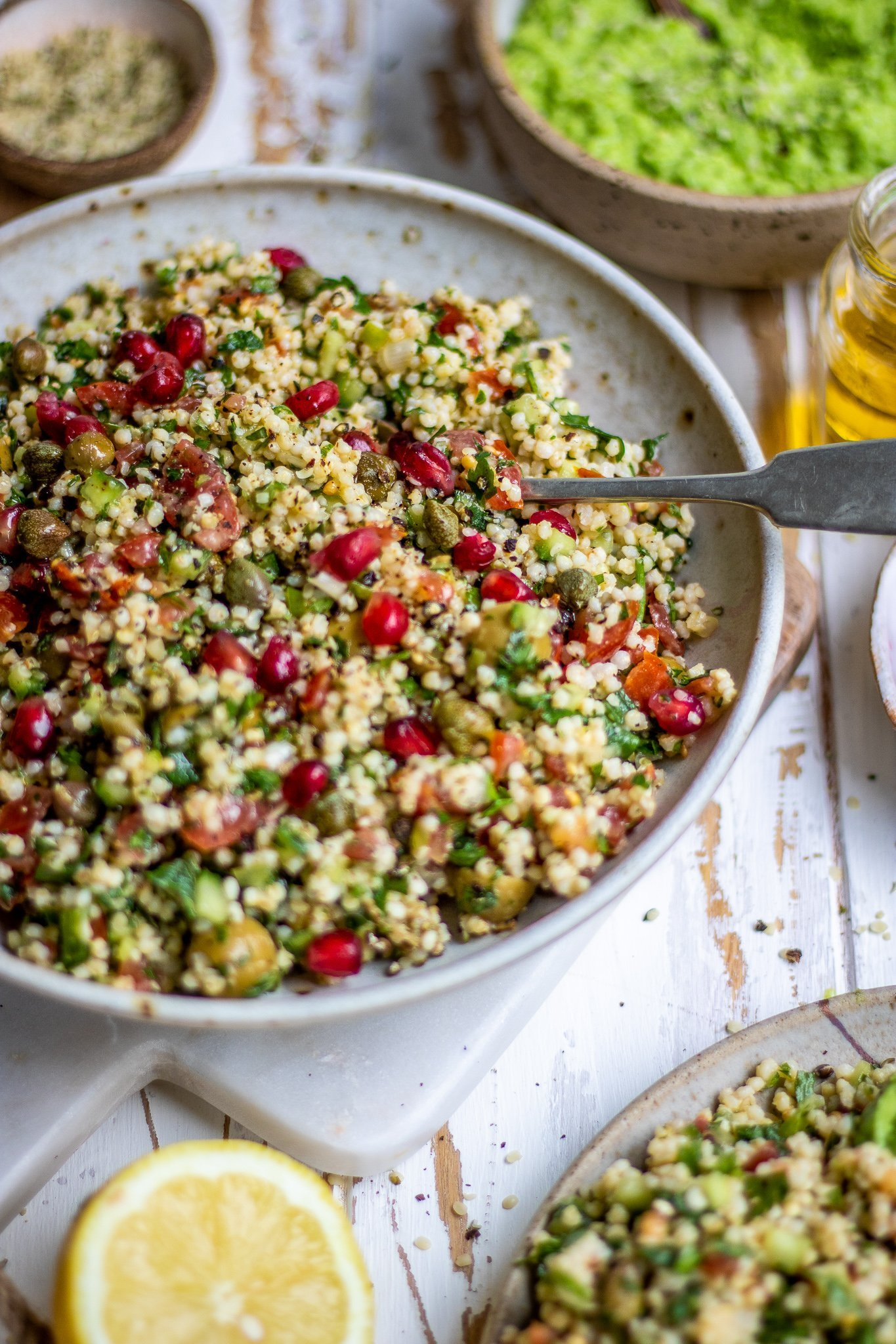 Millet Tabouleh with Minty Pea Dip