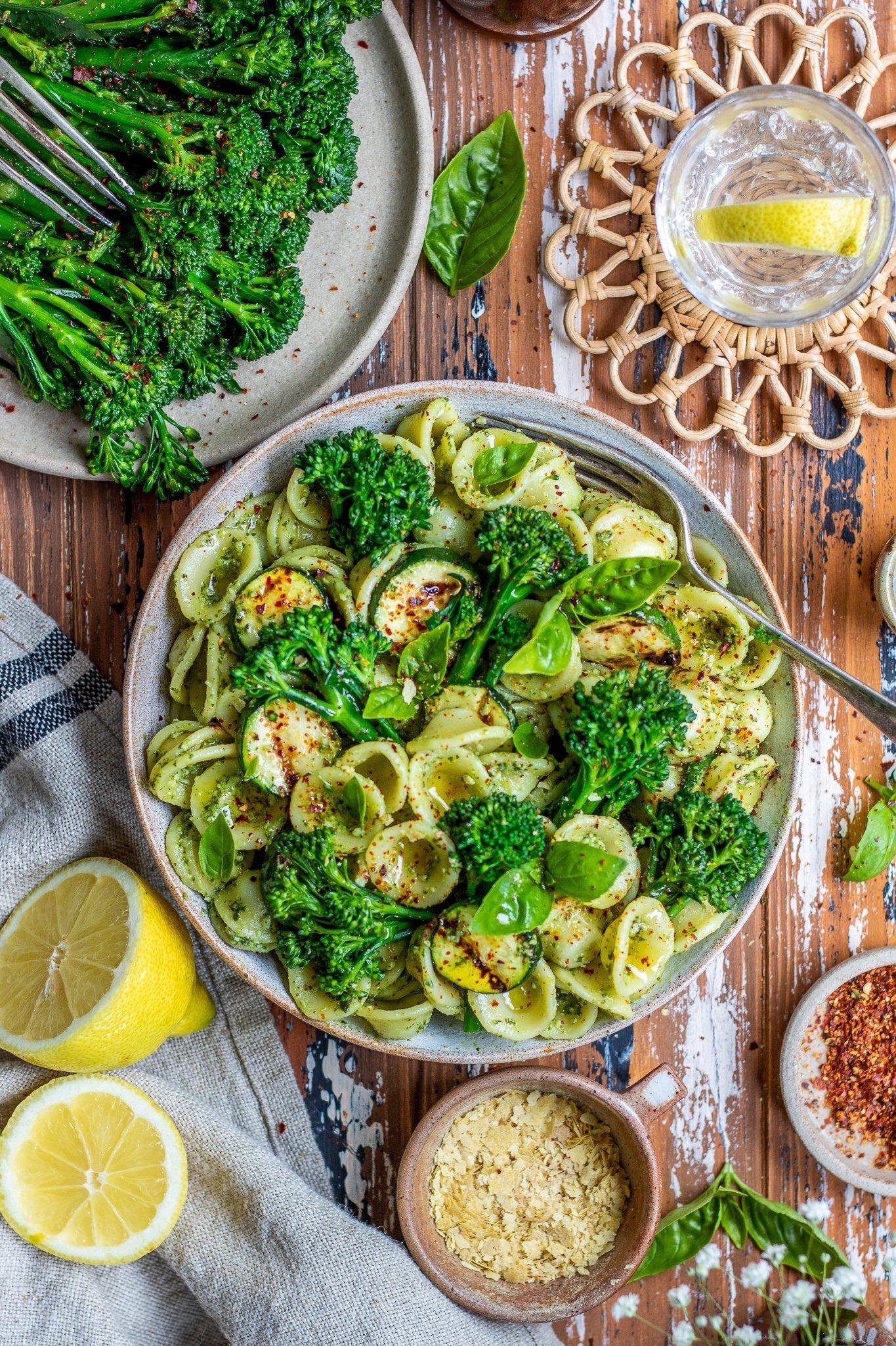 Pumpkin Seed Pesto Orecchiette with Tenderstem® Broccoli & Grilled Courgette
