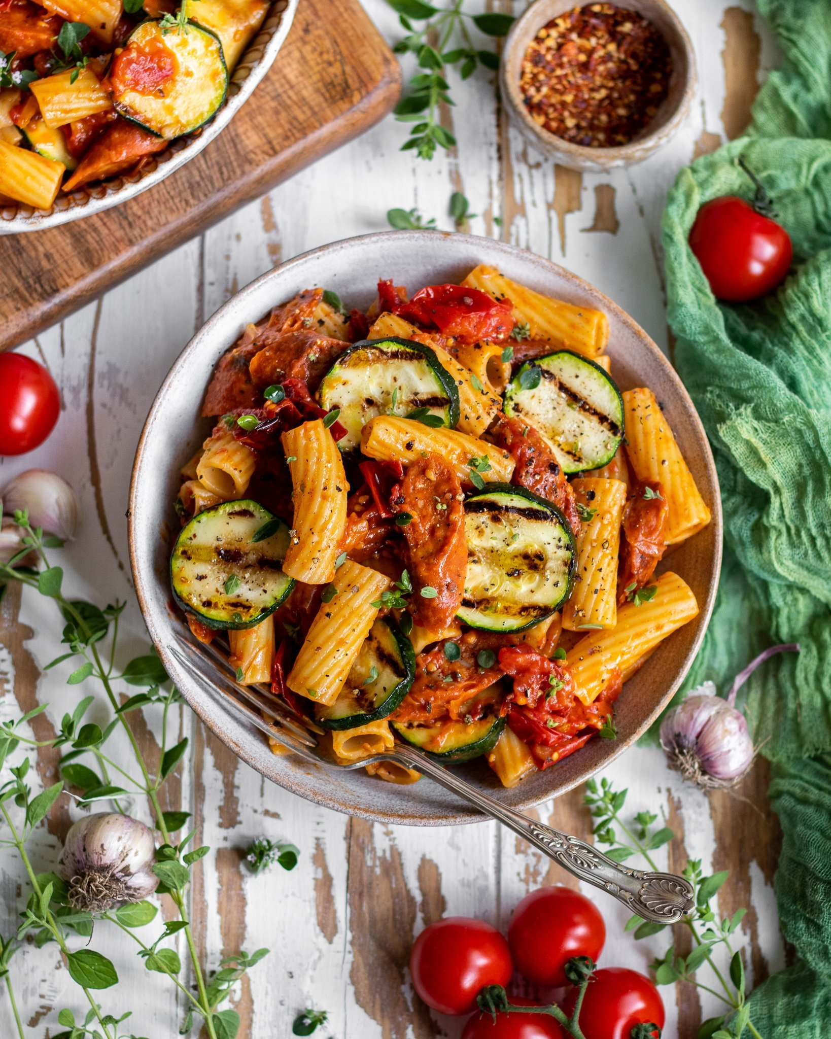 Oven Roasted Tomato & Courgette Pasta