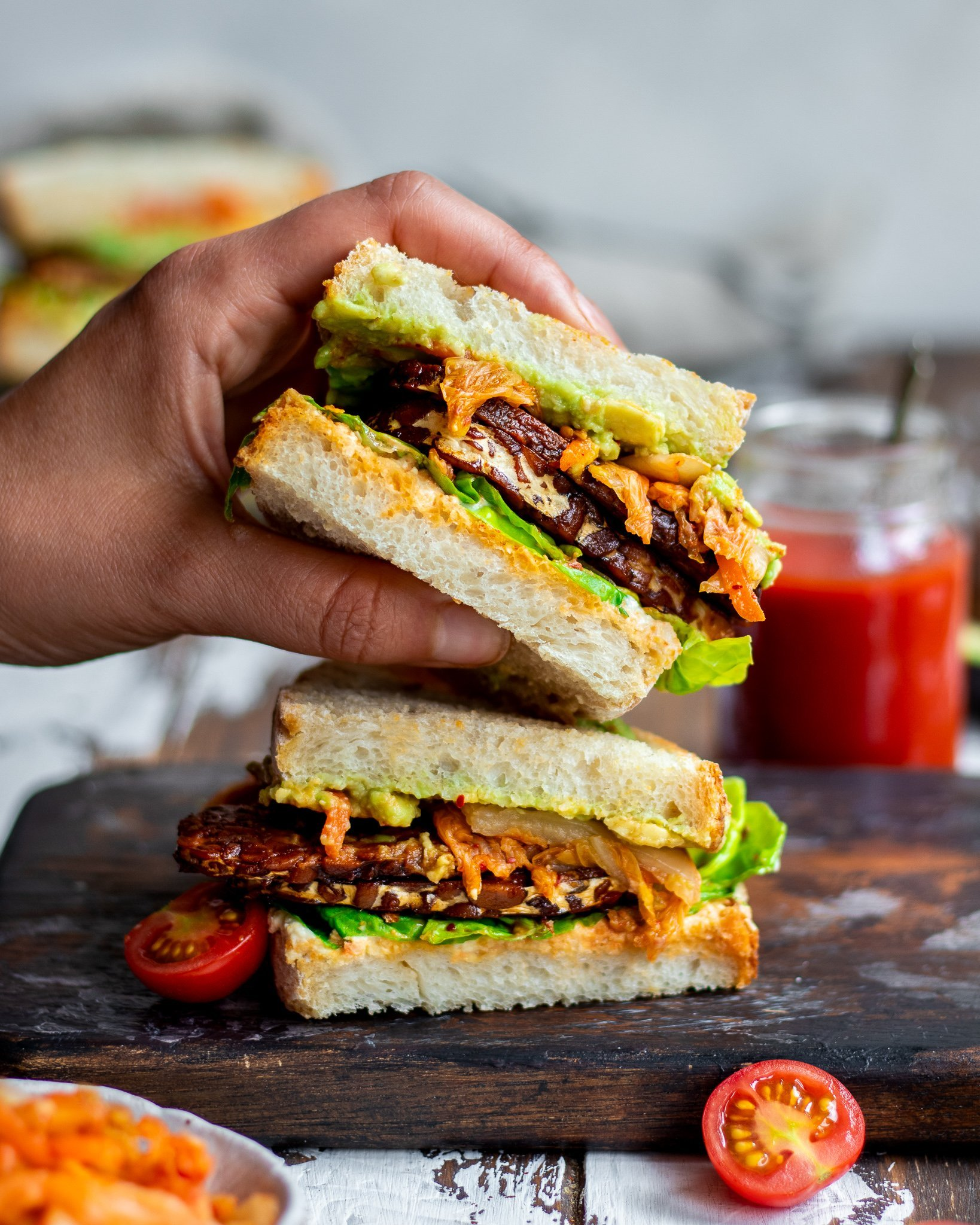 Tempeh Avocado & Kimchi Sandwich