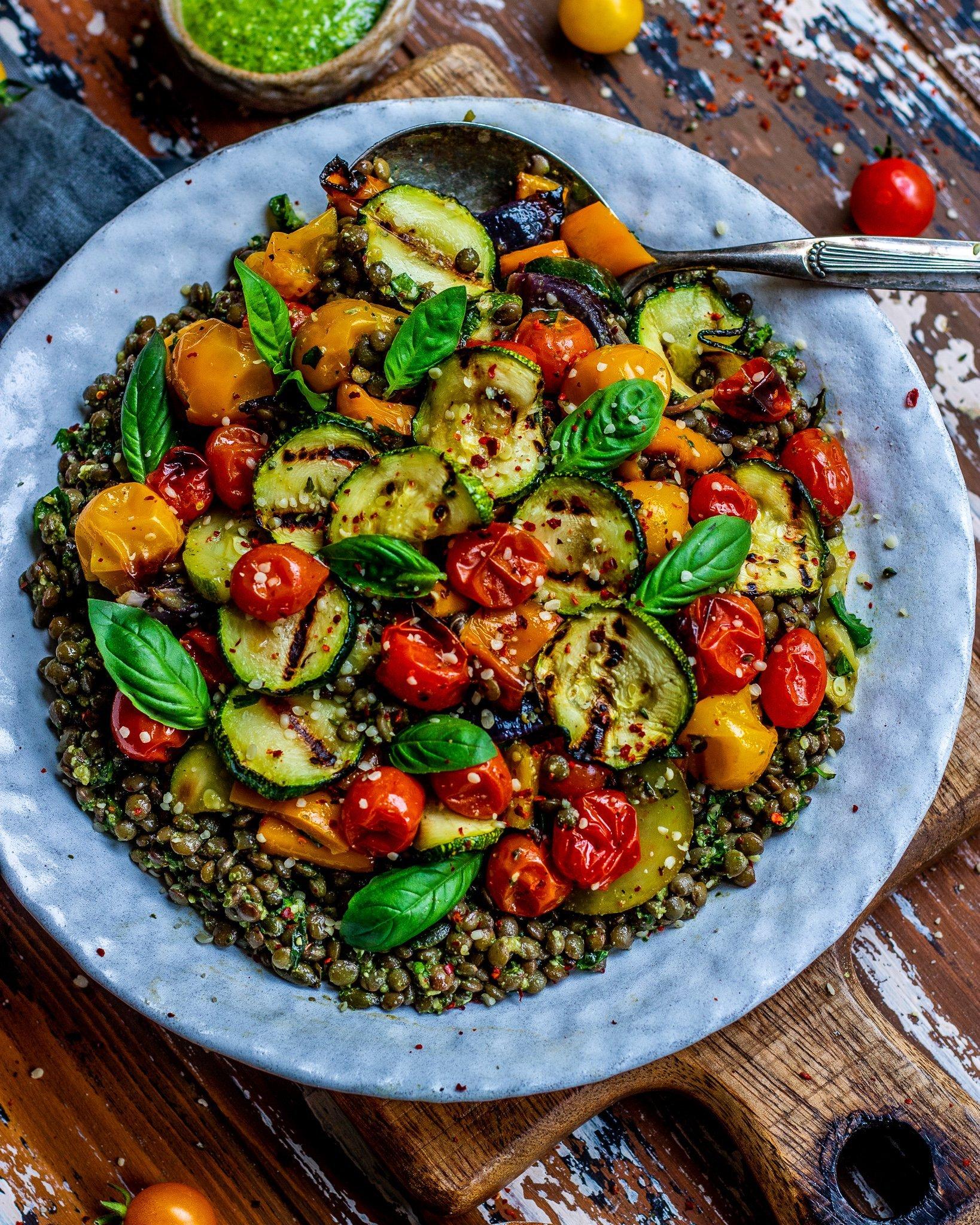 Roasted Vegetables Pesto Lentil Salad