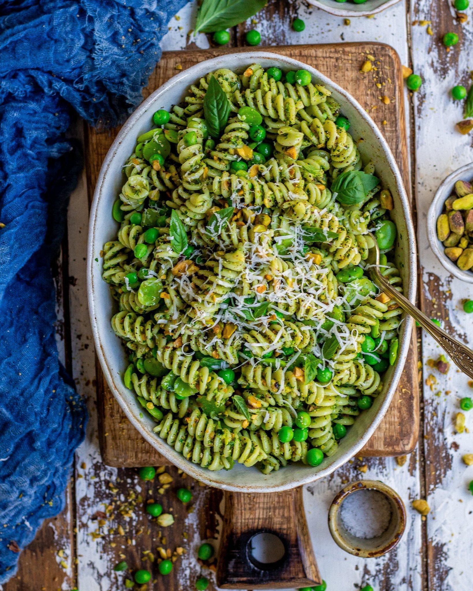 Pea & Broad Bean Pistachio Pesto Pasta