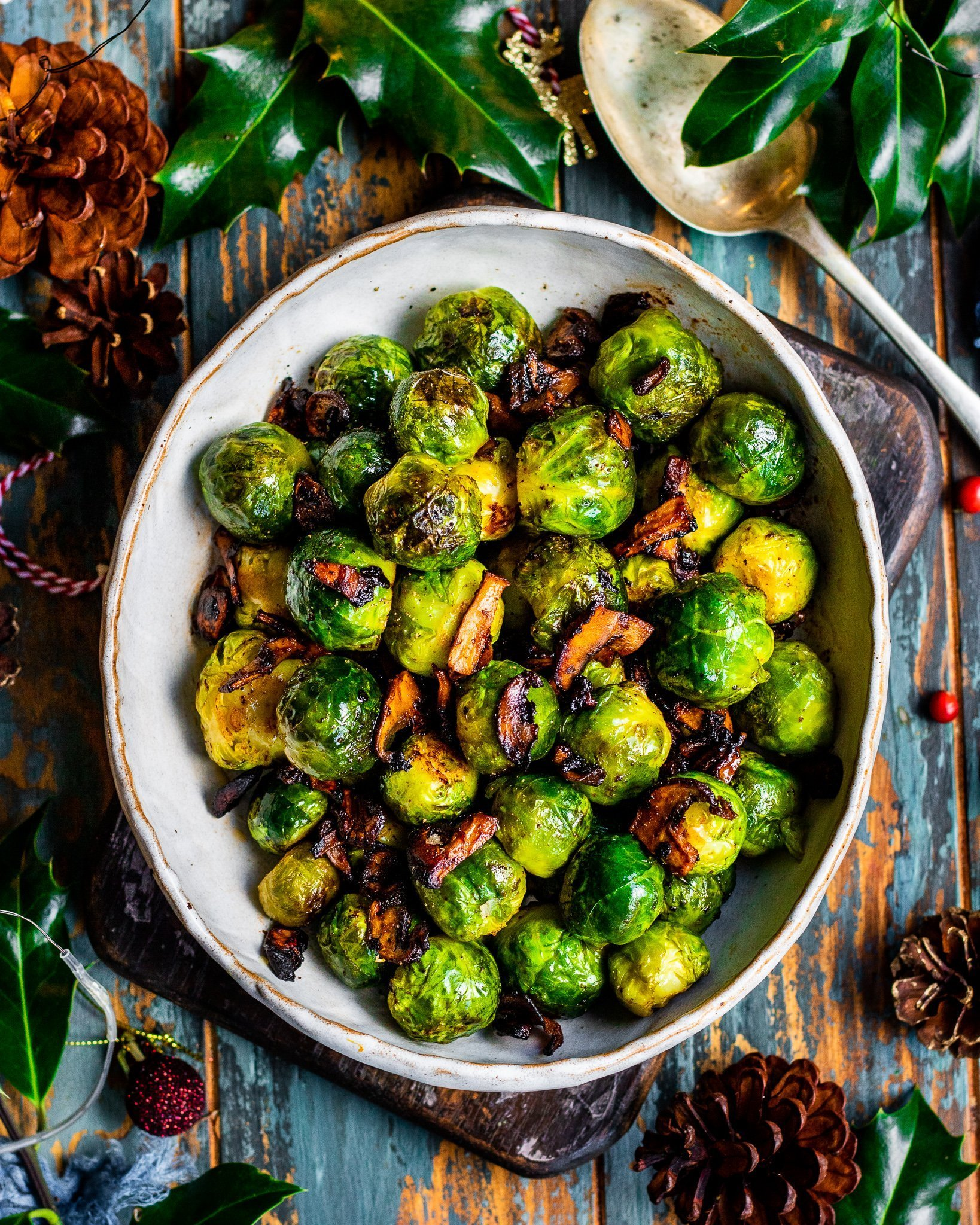 Brussel Sprouts with Smoky Mushrooms