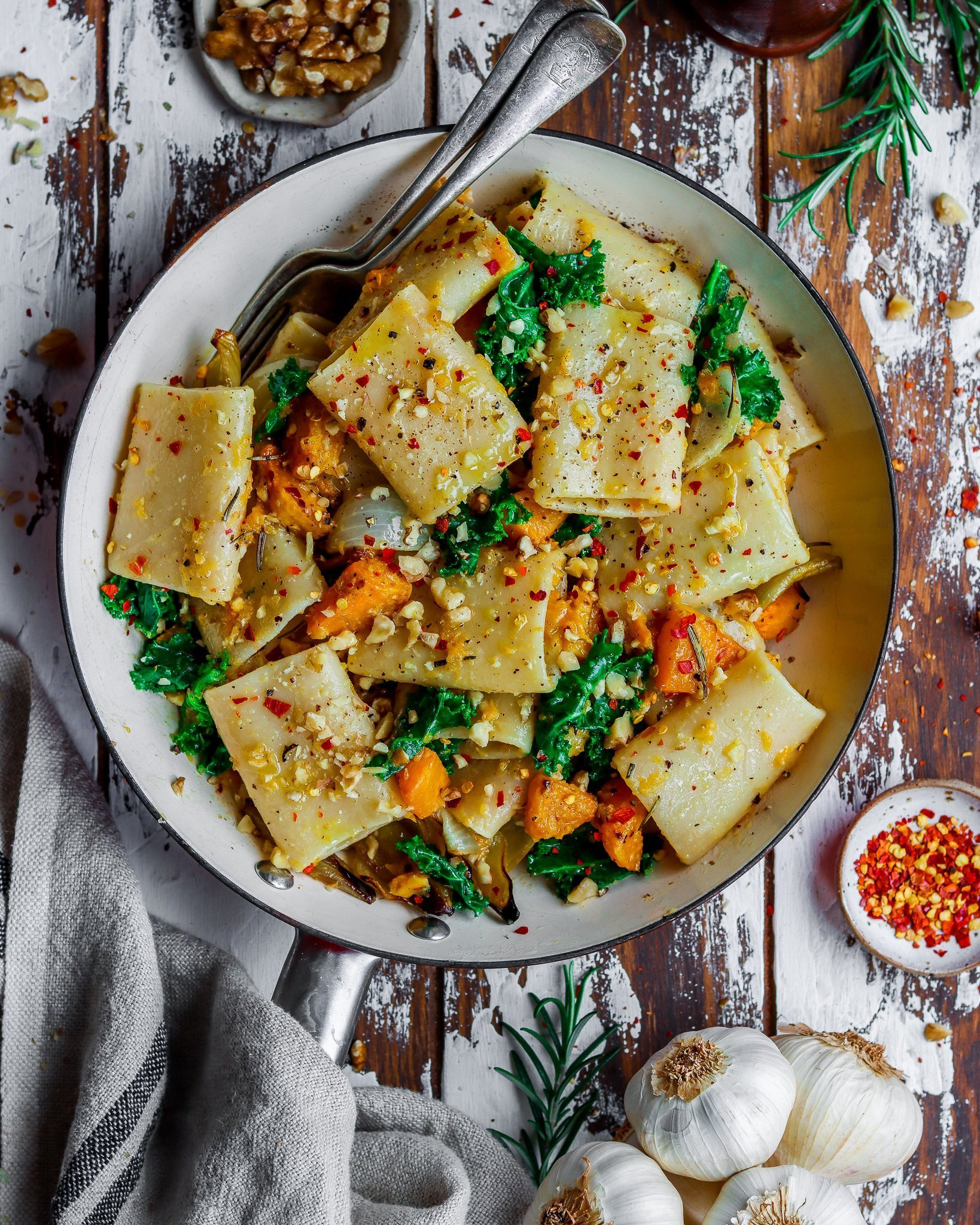 Paccheri with Roasted Butternut Squash & Kale