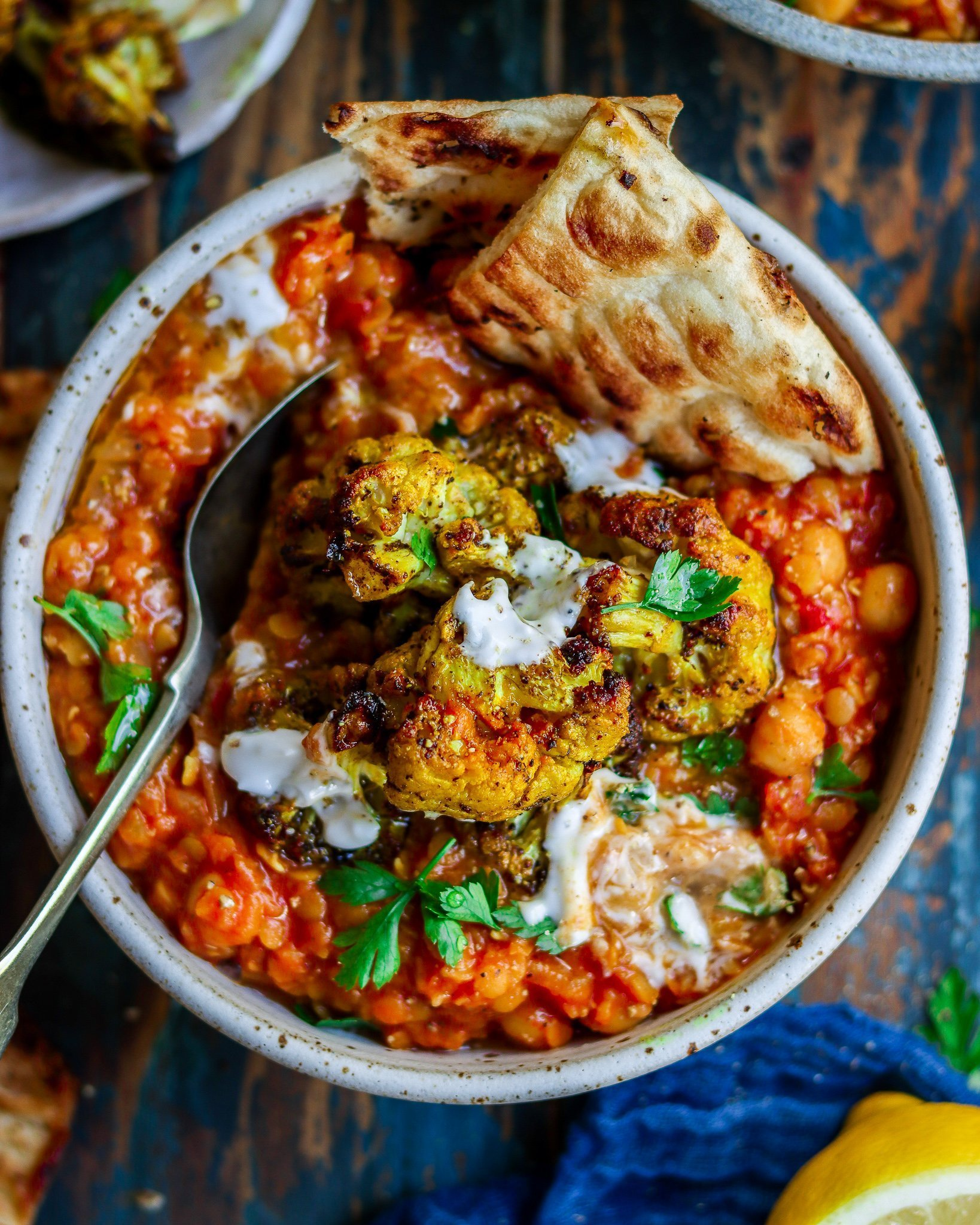 Red Lentil & Chickpea Curry With Roasted Cauliflower