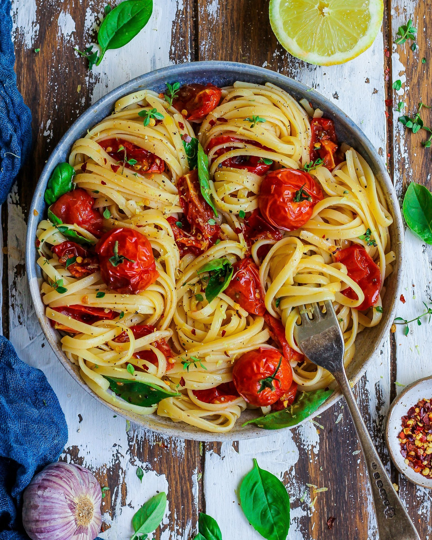 Roasted Tomatoes & Lemon Linguine