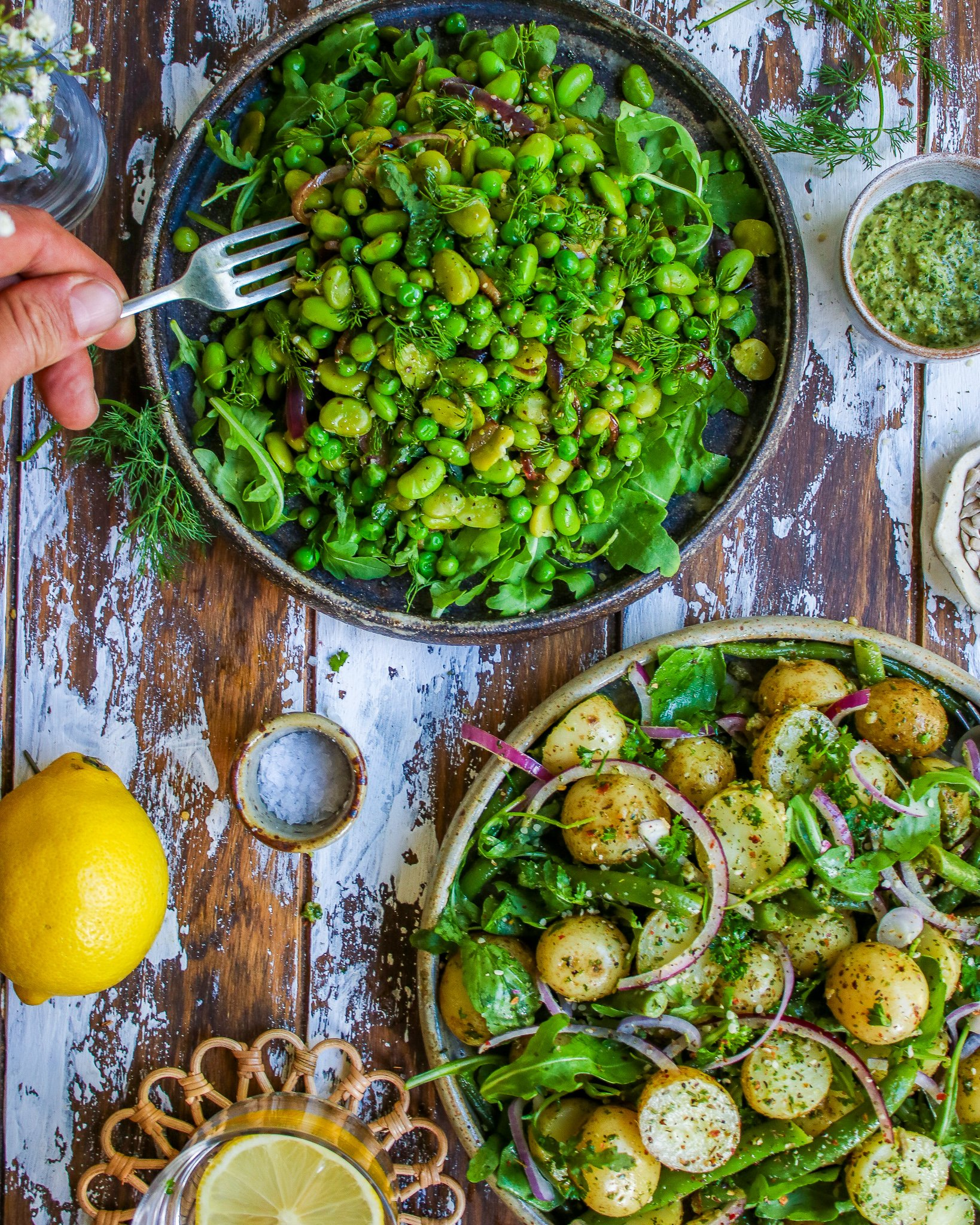 Pea & Edamame + Baby Potatoes and Green Bean Salads