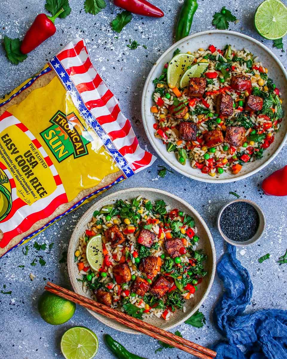 Veggie Fried Rice with Crispy Tofu