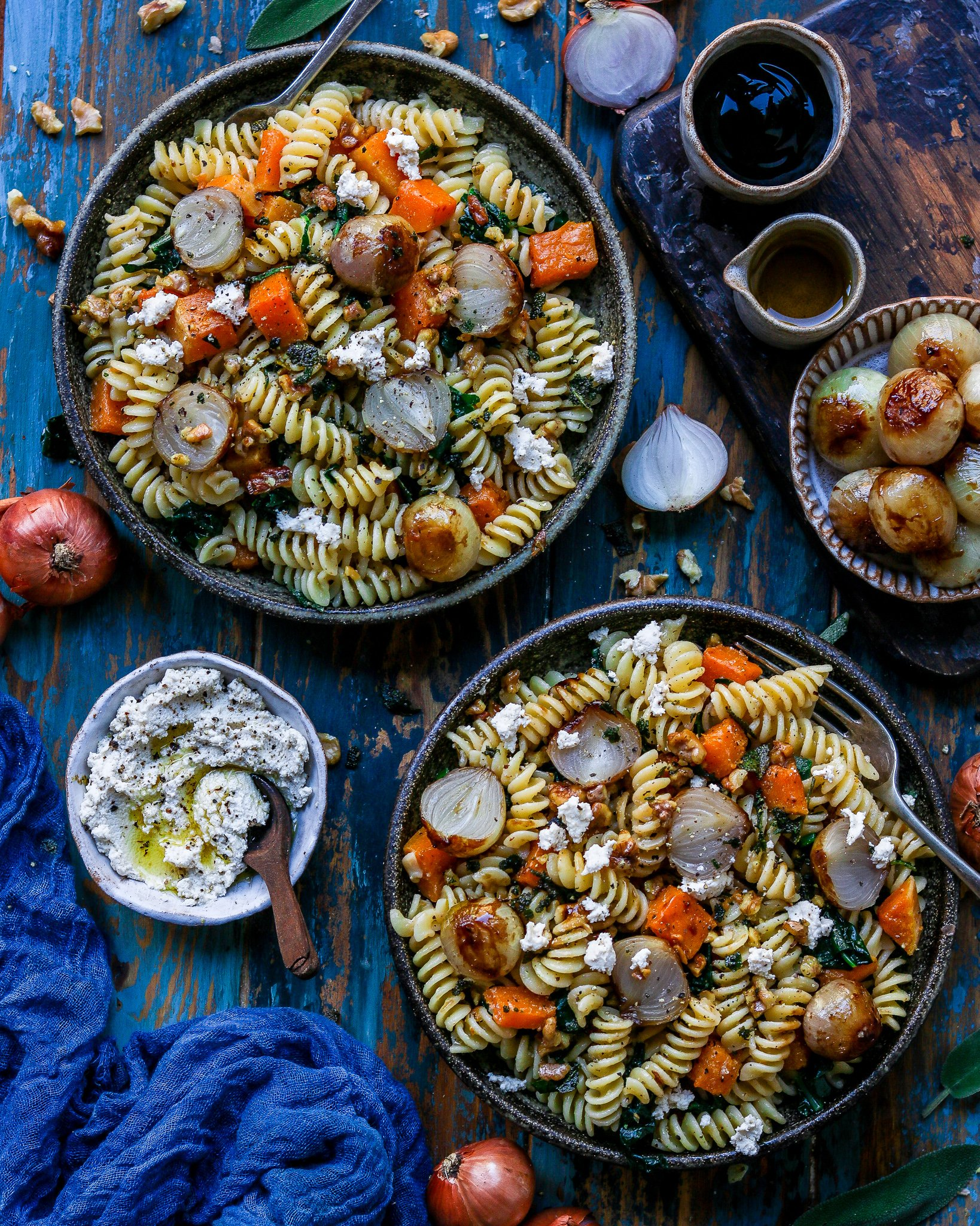 Squash & Kale pasta with Almond Ricotta