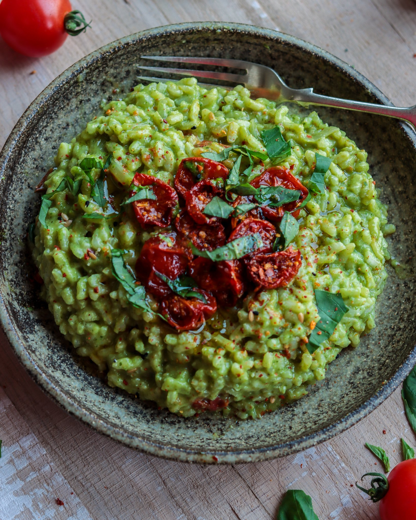 Pesto Risotto with Slow Roasted Tomatoes